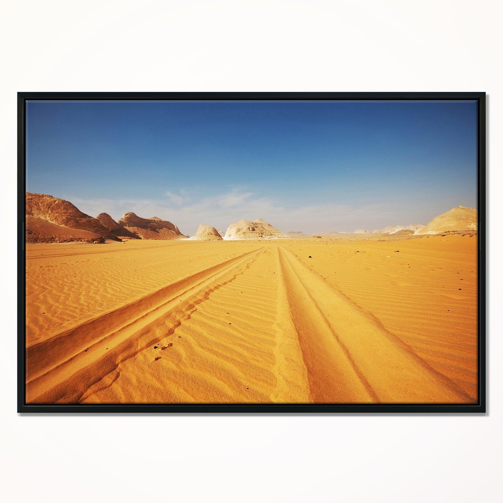 Designart \'Road in White Desert Egypt\' Modern Landscape Wall Art ...