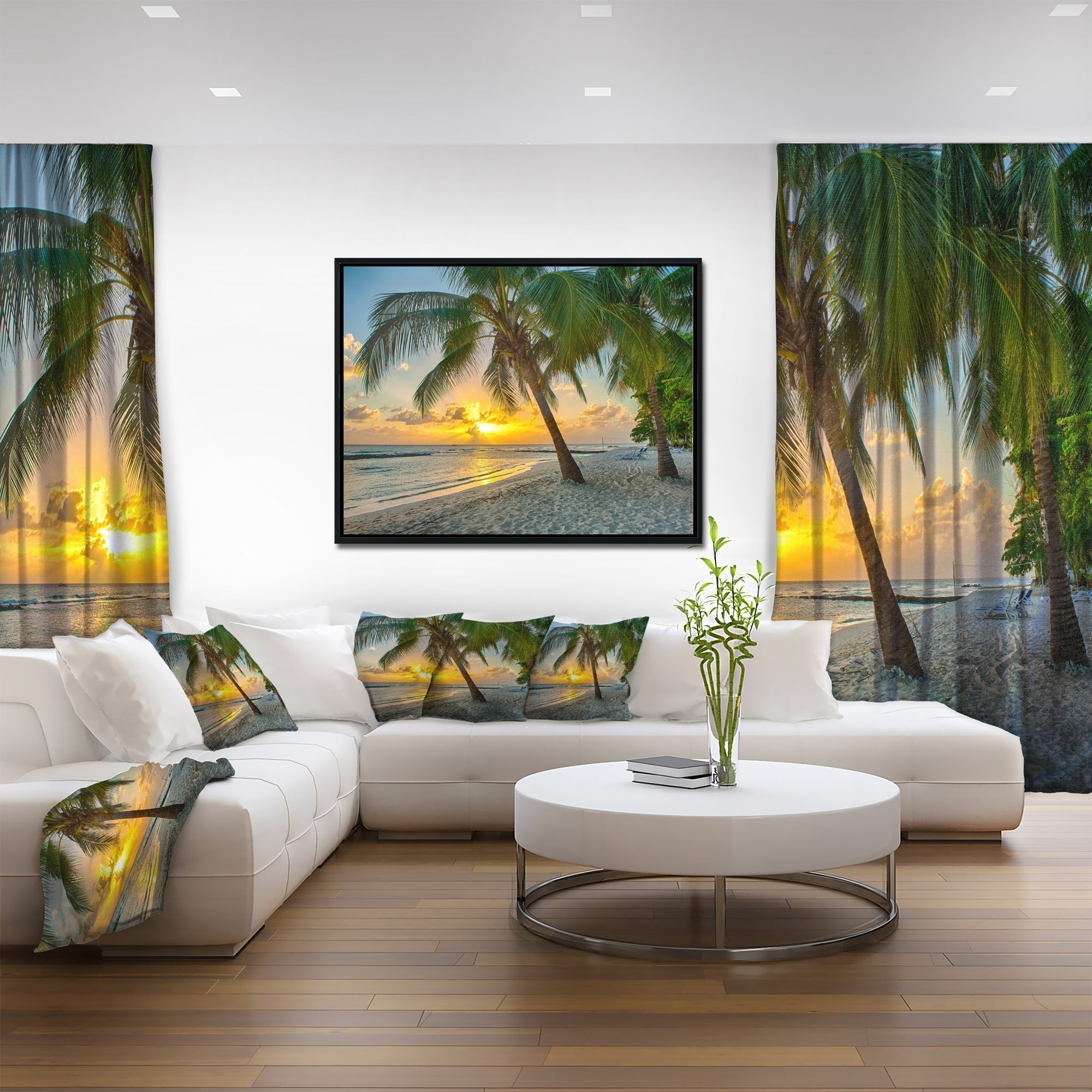 b2dcabf8d4 Shop Designart 'Beach in Caribbean Island of Barbados' Modern Seascape  Framed Canvas Artwork - On Sale - Free Shipping Today - Overstock - 18957906