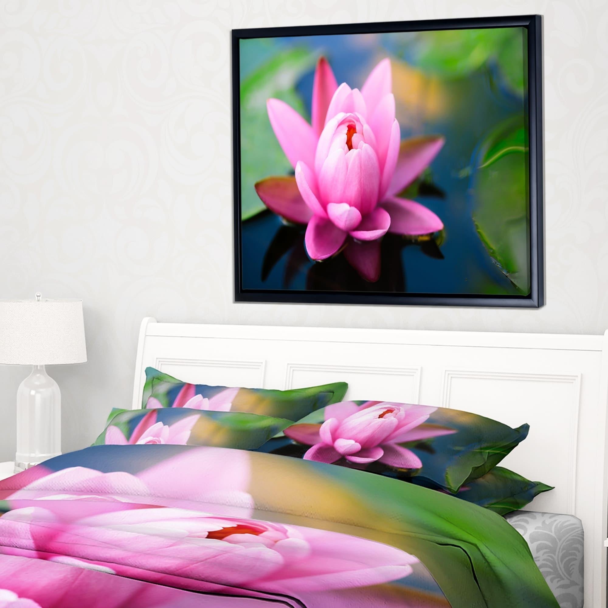 Designart Large Lotus Flower In The Pond Floral Framed Canvas Art