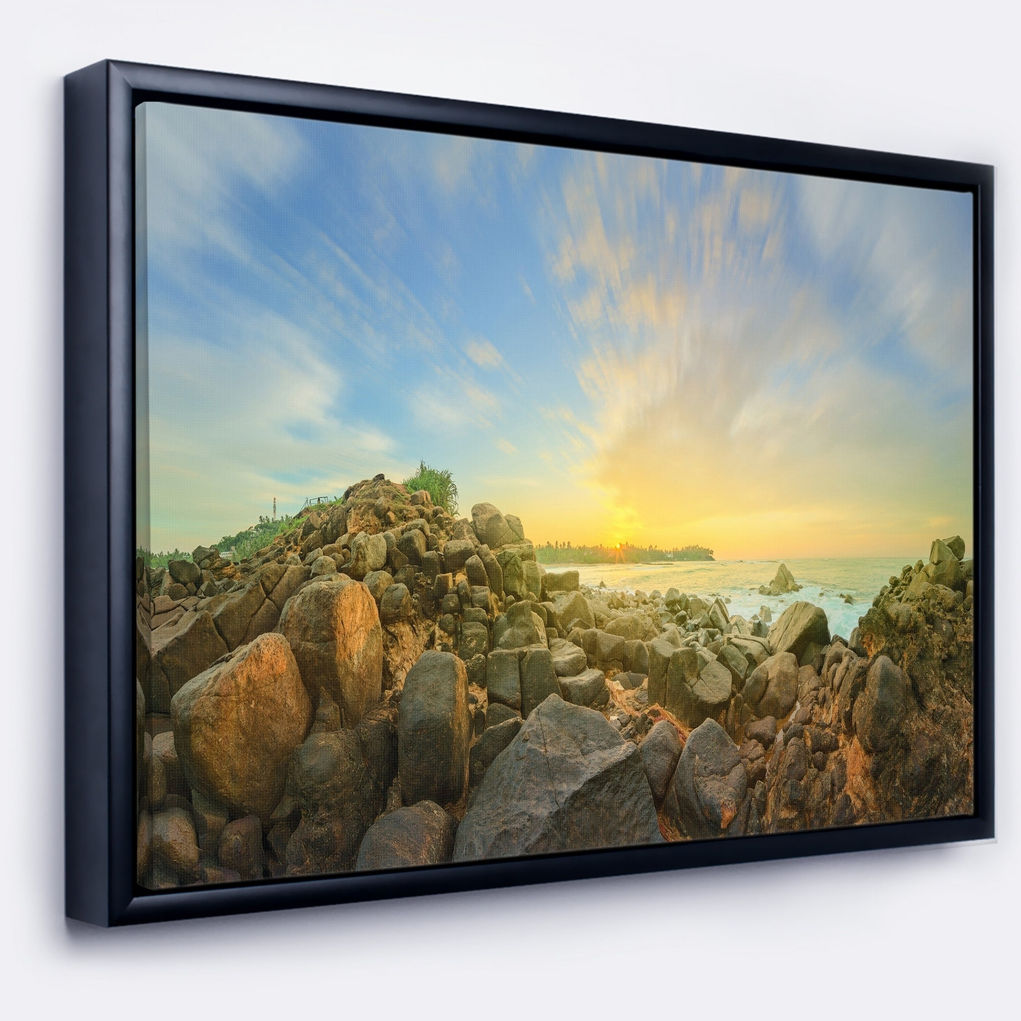 Designart \'Beautiful Romantic Beach Sunrise\' Landscape Artwork ...
