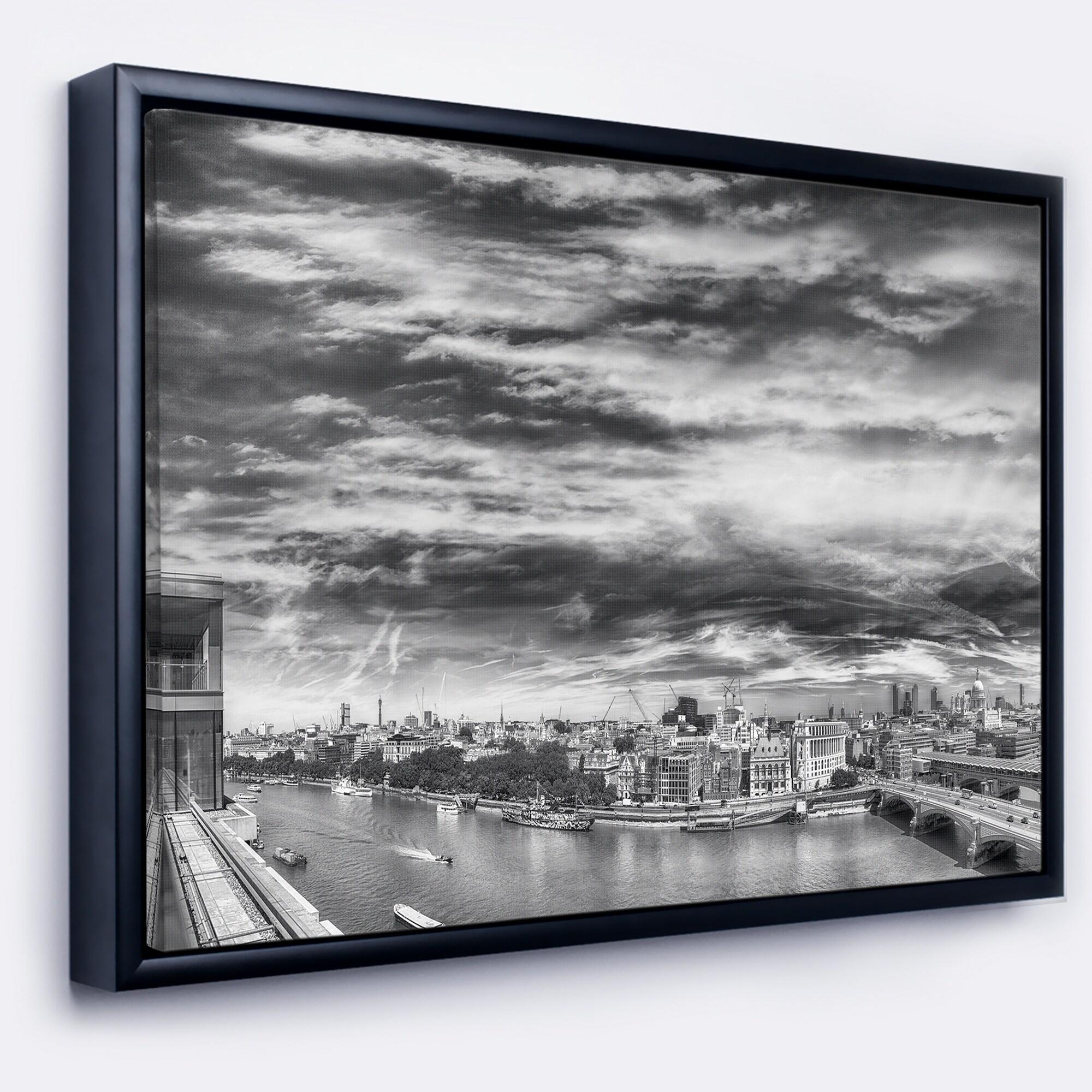 Designart black and white panoramic london cityscape framed canvas print