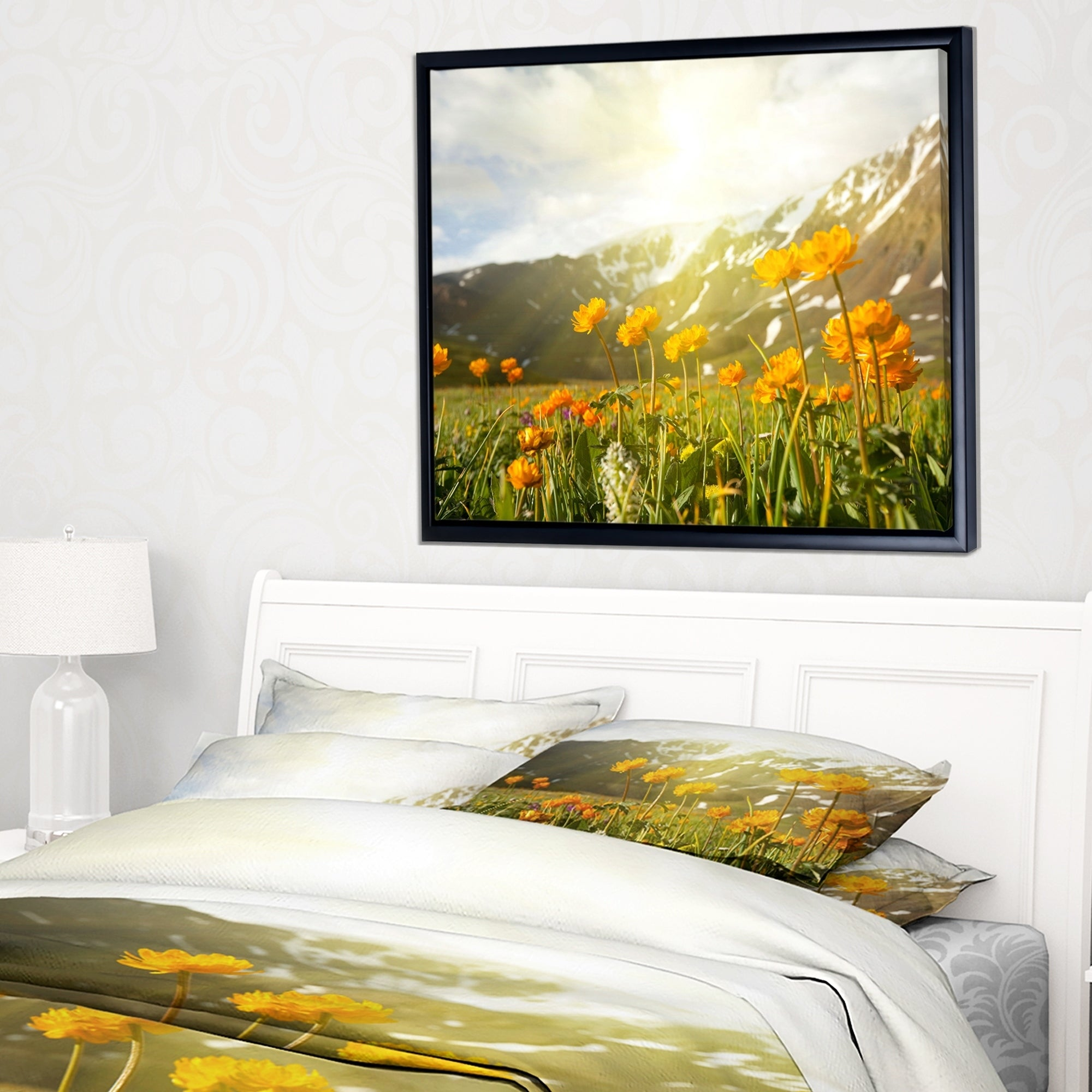 Designart Mountain Pasture With Yellow Flowers Floral Framed