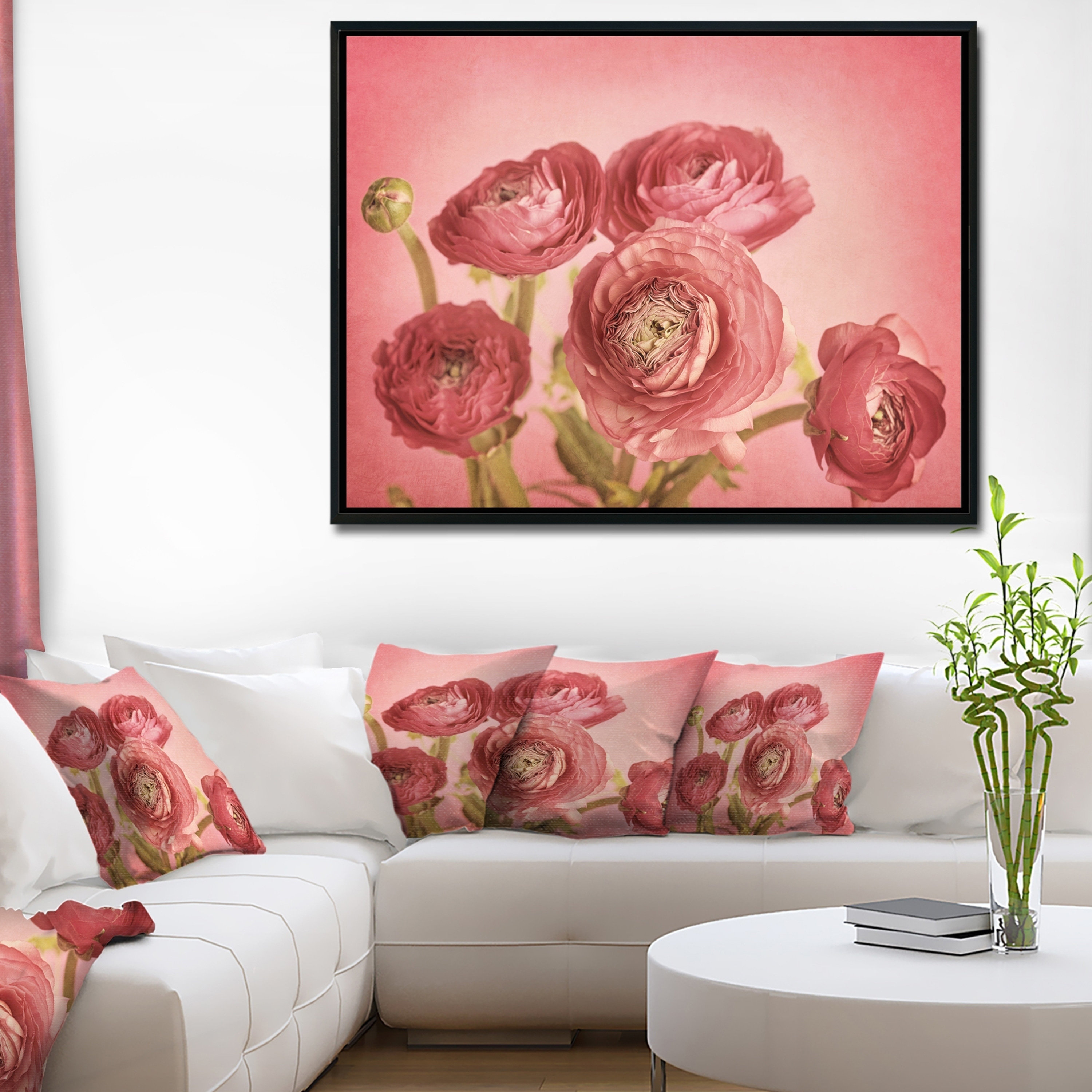 Designart bunch of ranunculus flowers on pink floral framed canvas art print free shipping today overstock com 25010196
