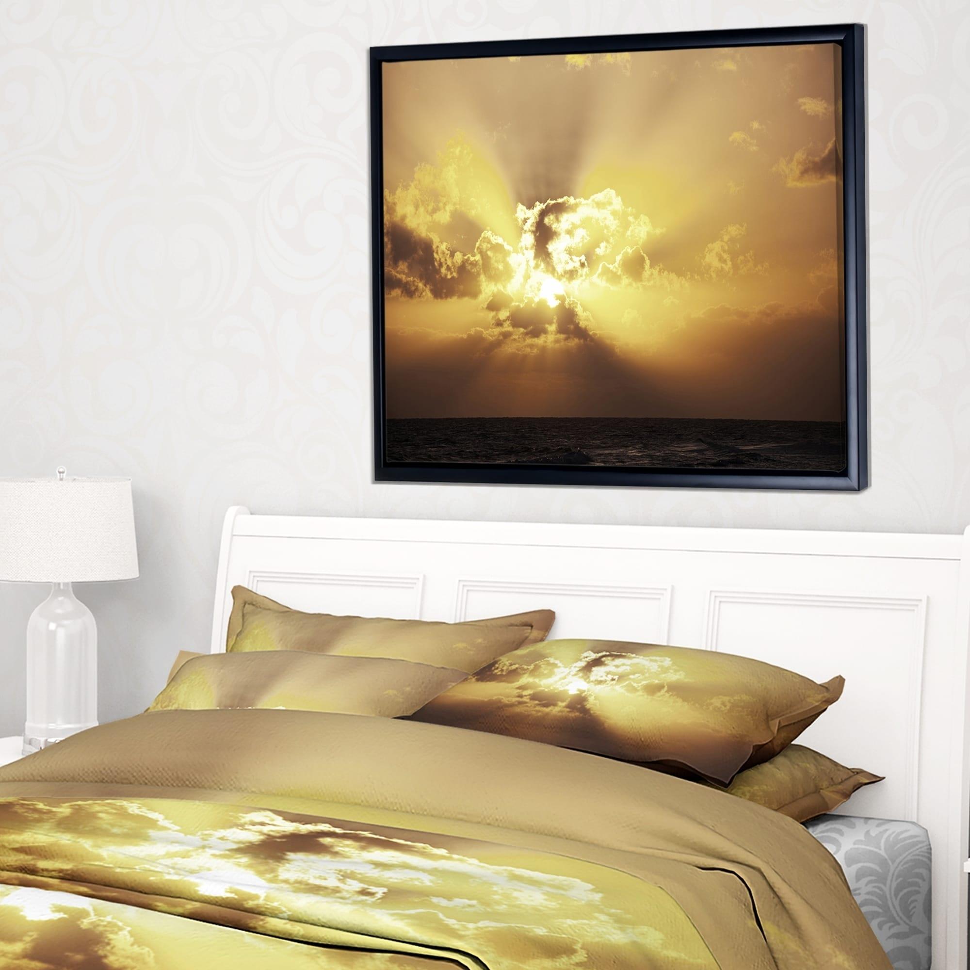 Designart \'Majestic Sea Sunset Through Clouds\' Landscape Wall Art on ...