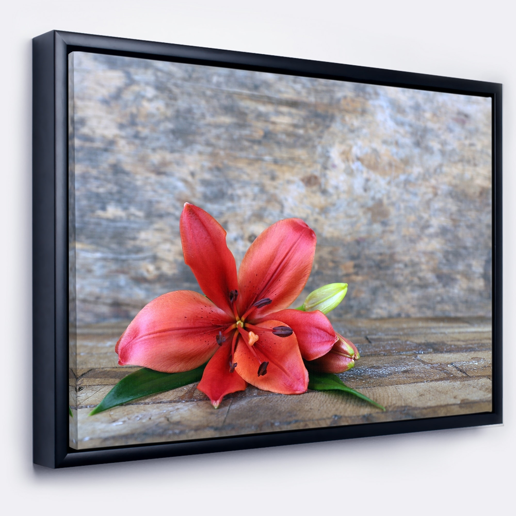 Shop designart beautiful fallen red lily flower large floral shop designart beautiful fallen red lily flower large floral framed canvas artwork free shipping today overstock 18960028 izmirmasajfo