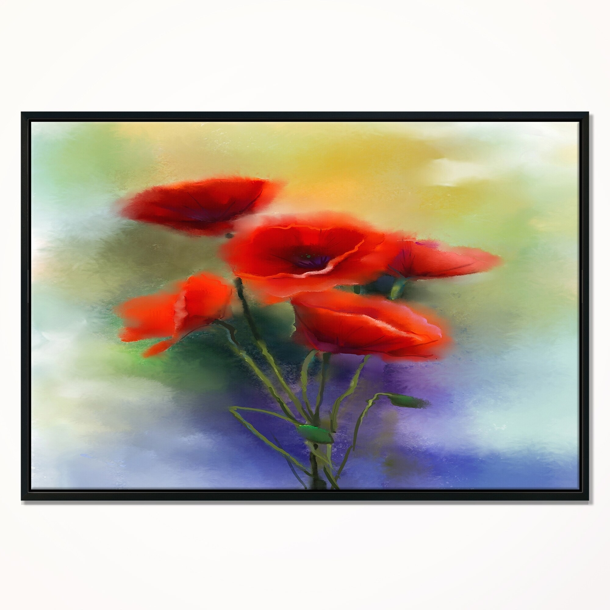 Shop Designart Watercolor Red Poppy Flowers Painting Large Floral