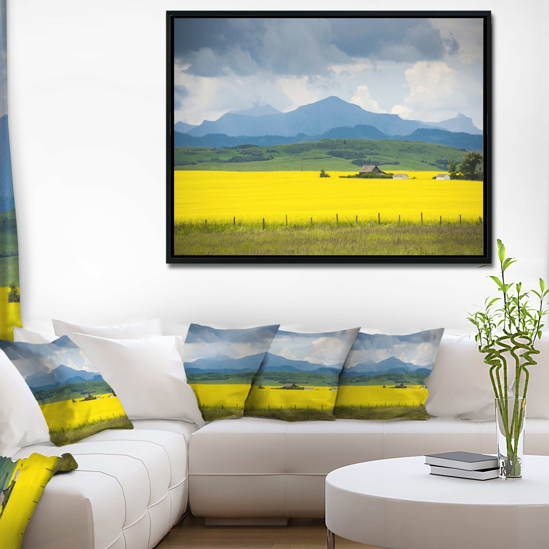 Shop Designart \'Farm House in Field Of Canola\' Landscape Framed ...