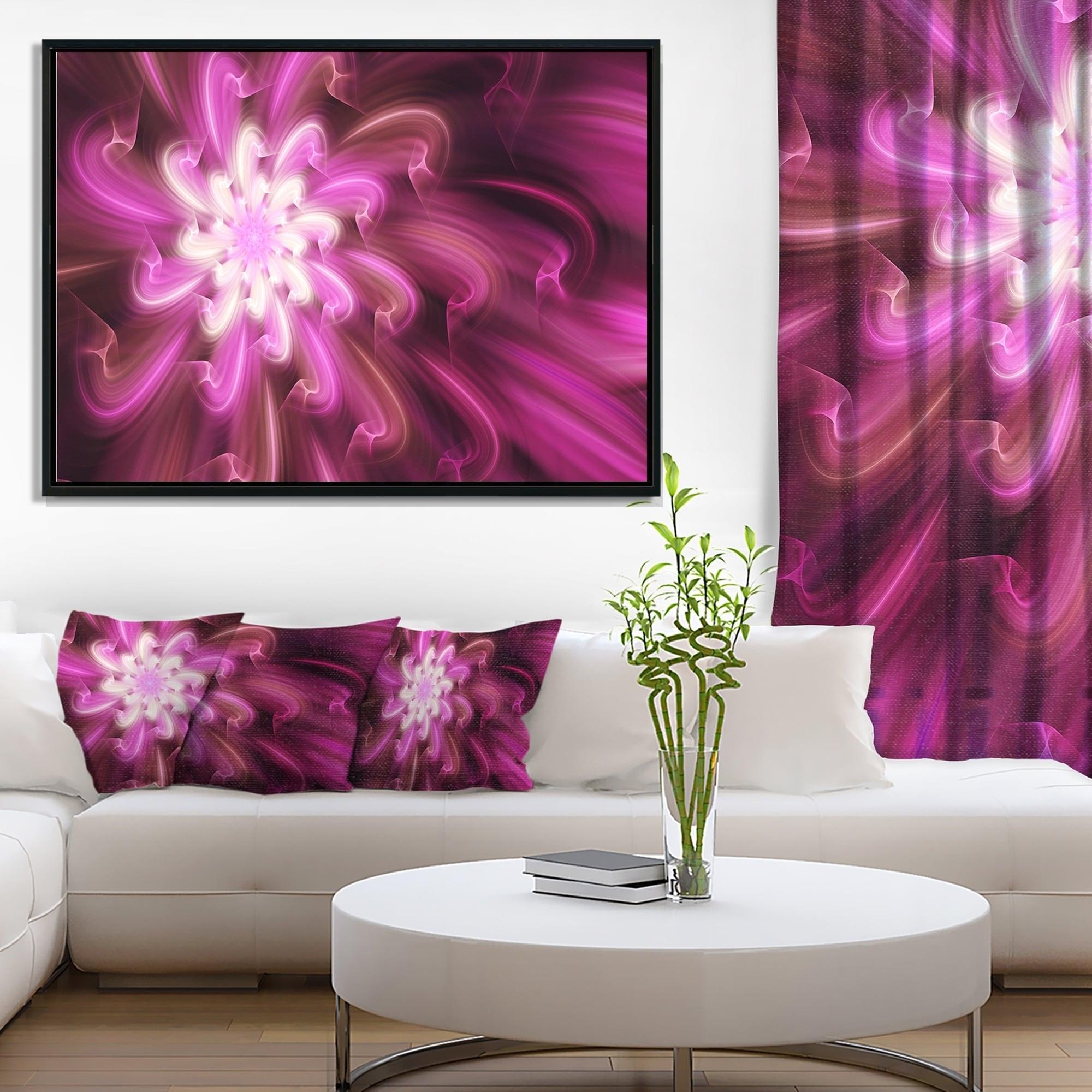 Designart Exotic Dance Of Purple Flower Petals Floral Framed