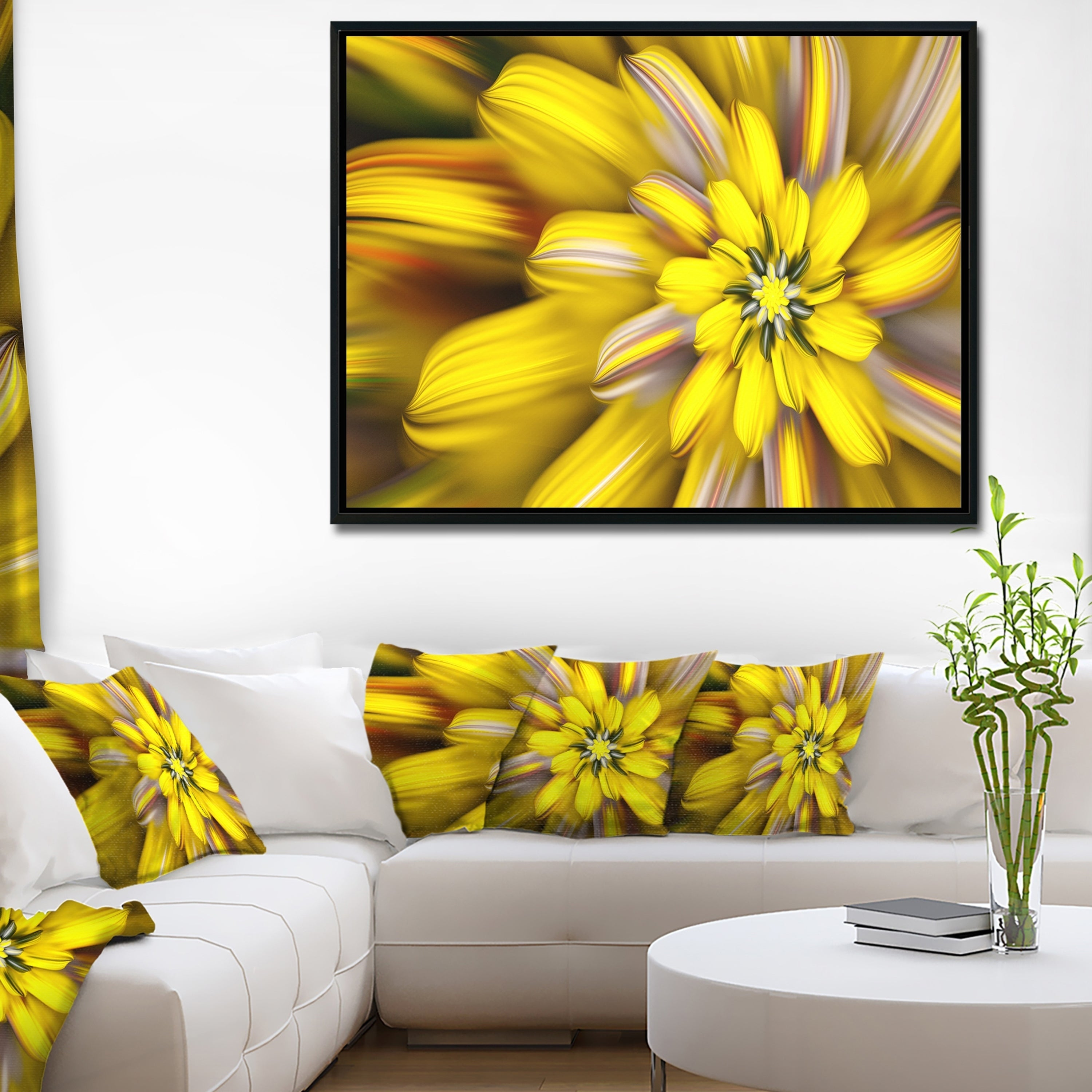 Designart \'Massive Yellow Fractal Flower\' Floral Framed Canvas Art ...