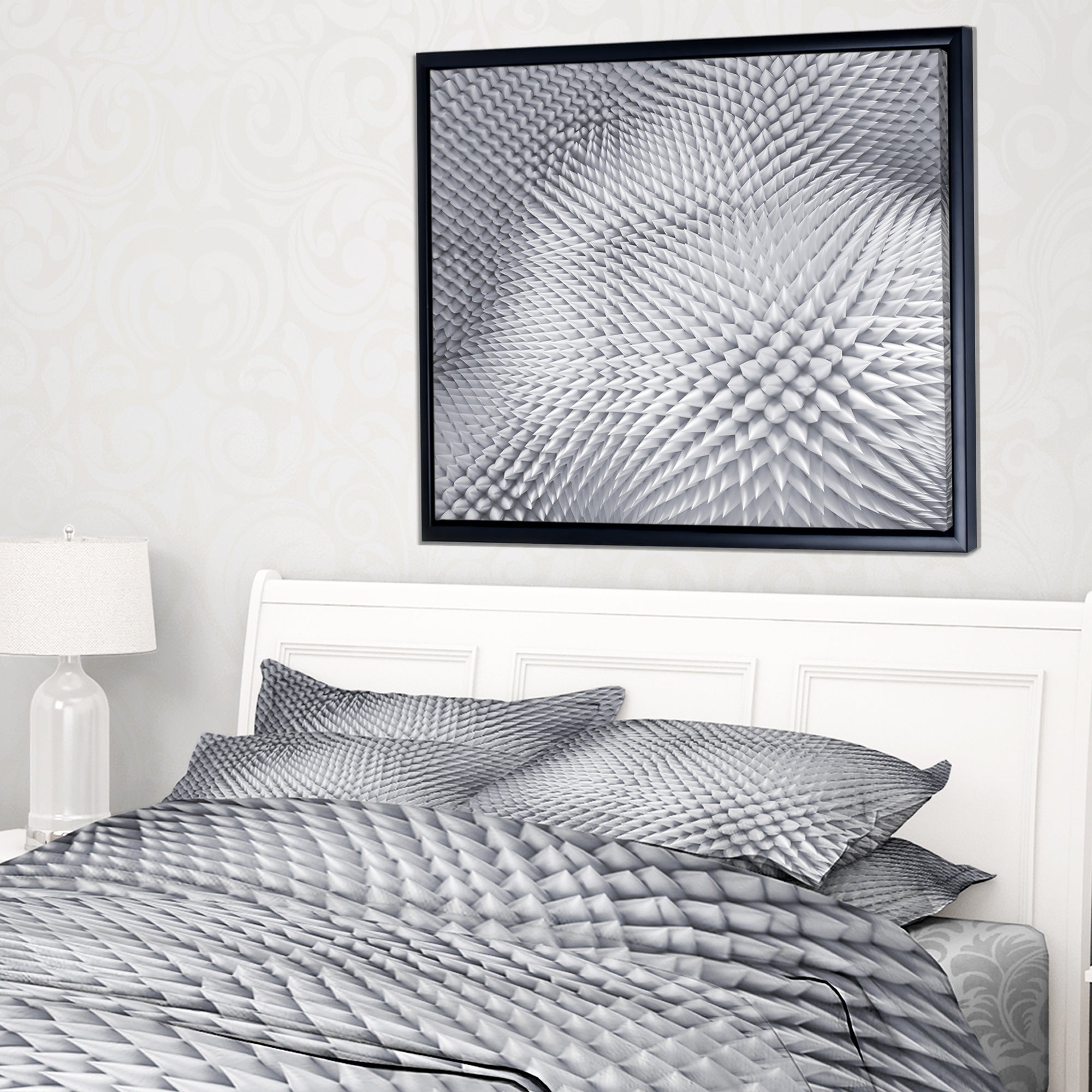 Shop Designart \'Small 3D White Prickly Design\' Abstract Framed ...