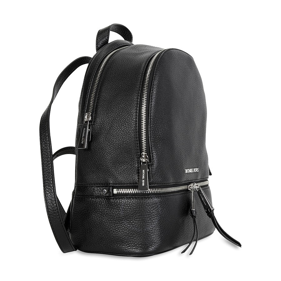 da1dac999 Shop Michael Kors Rhea Black Medium Slim Fashion Backpack with Silver  Hardware - Free Shipping Today - Overstock - 18962319