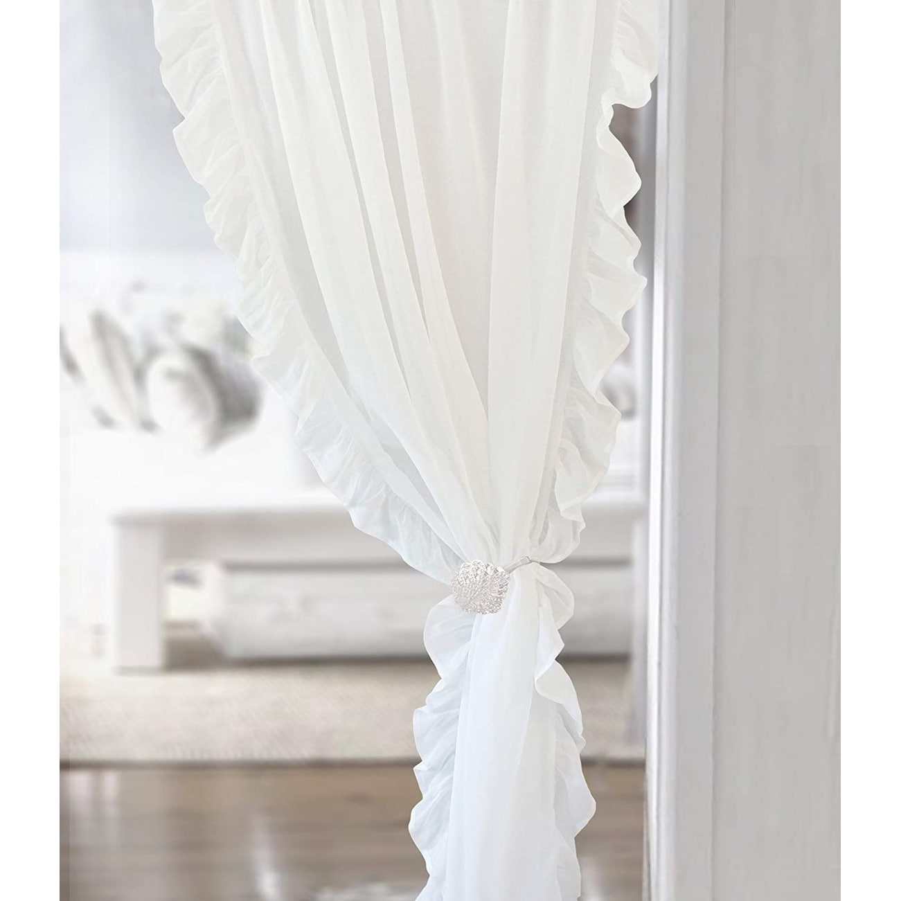 Driftaway Sophie Sheer Voile Ruffle Edge Window Curtain Panel Pair On Free Shipping Orders Over 45 18965730