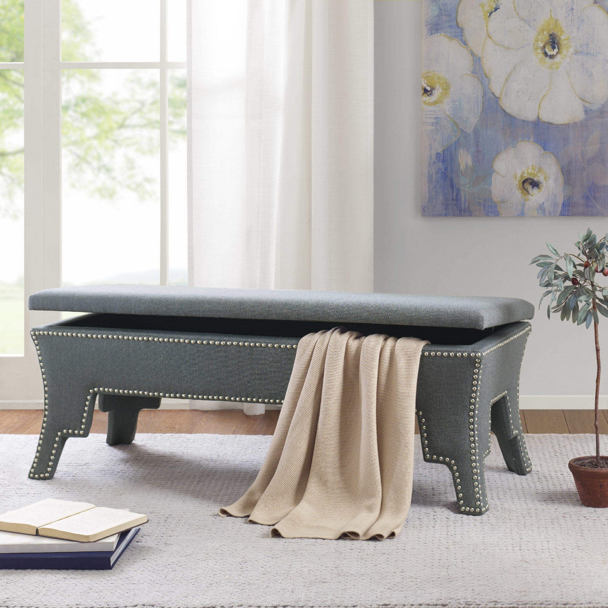 Shop Madison Park Lovell Blue Fabric Storage Bench - Free Shipping ...