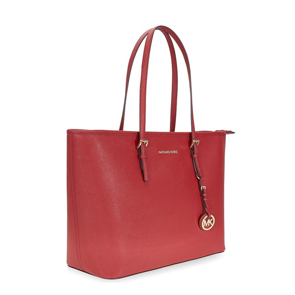 29eb53cbbc0e1c Shop Michael Kors Jet Set Travel Multifunction Saffiano Leather Burnt Red  Tote Bag - Free Shipping Today - Overstock - 18967779