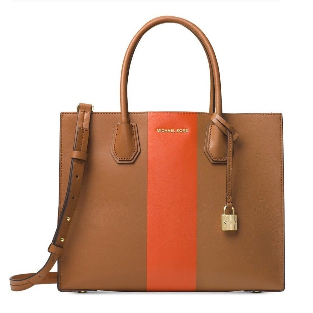 2bc0d9895 ... france shop michael kors mercer center stripe large acorn orange tote  bag on sale free shipping