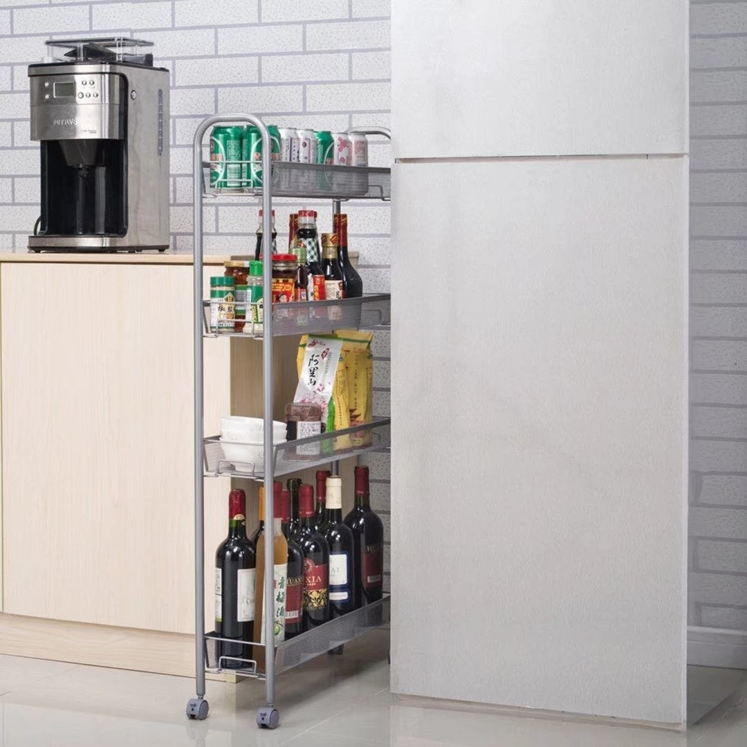 Rolling 4 Layer Shelf Slim Can Spice Rack Holder Cart Kitchen ...