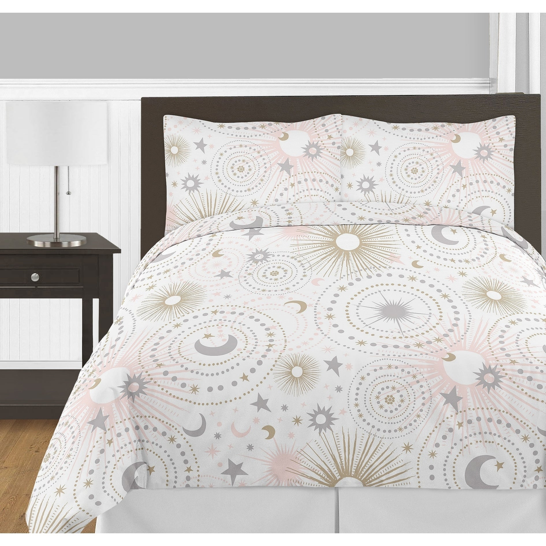 new white modern arrival sheets comforter bed star b bedding sun and celestial vie font moon