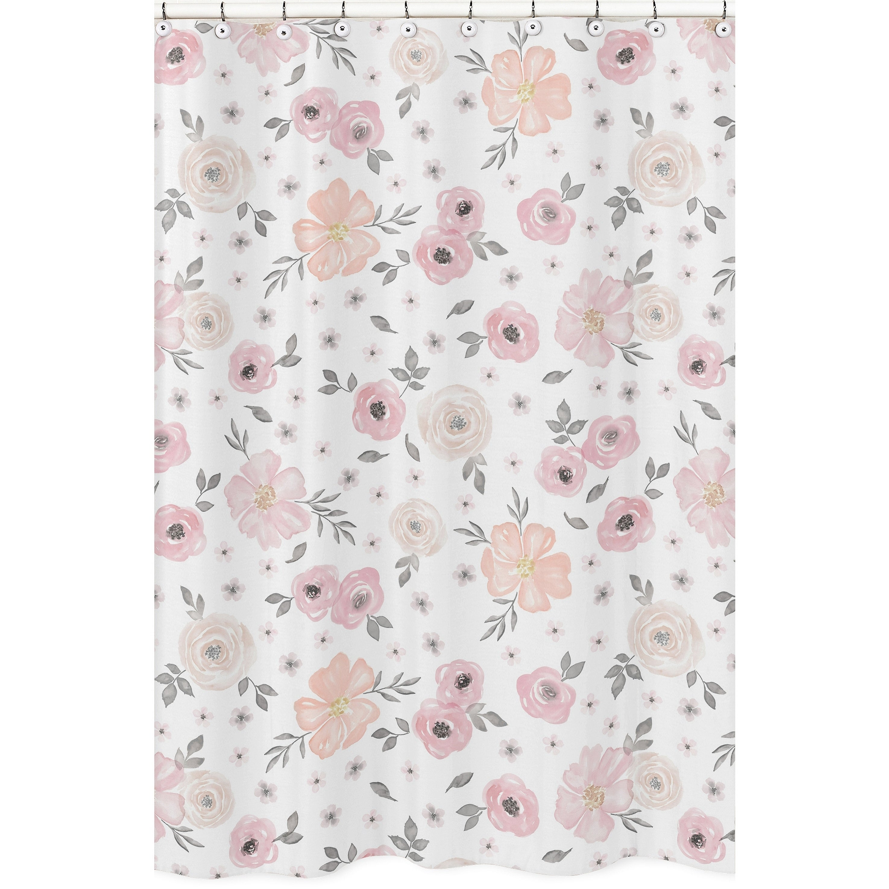 Sweet Jojo Designs Blush Pink, Grey and White Watercolor Floral Collection  Bathroom Fabric Bath Shower Curtain - Free Shipping On Orders Over $45 ...