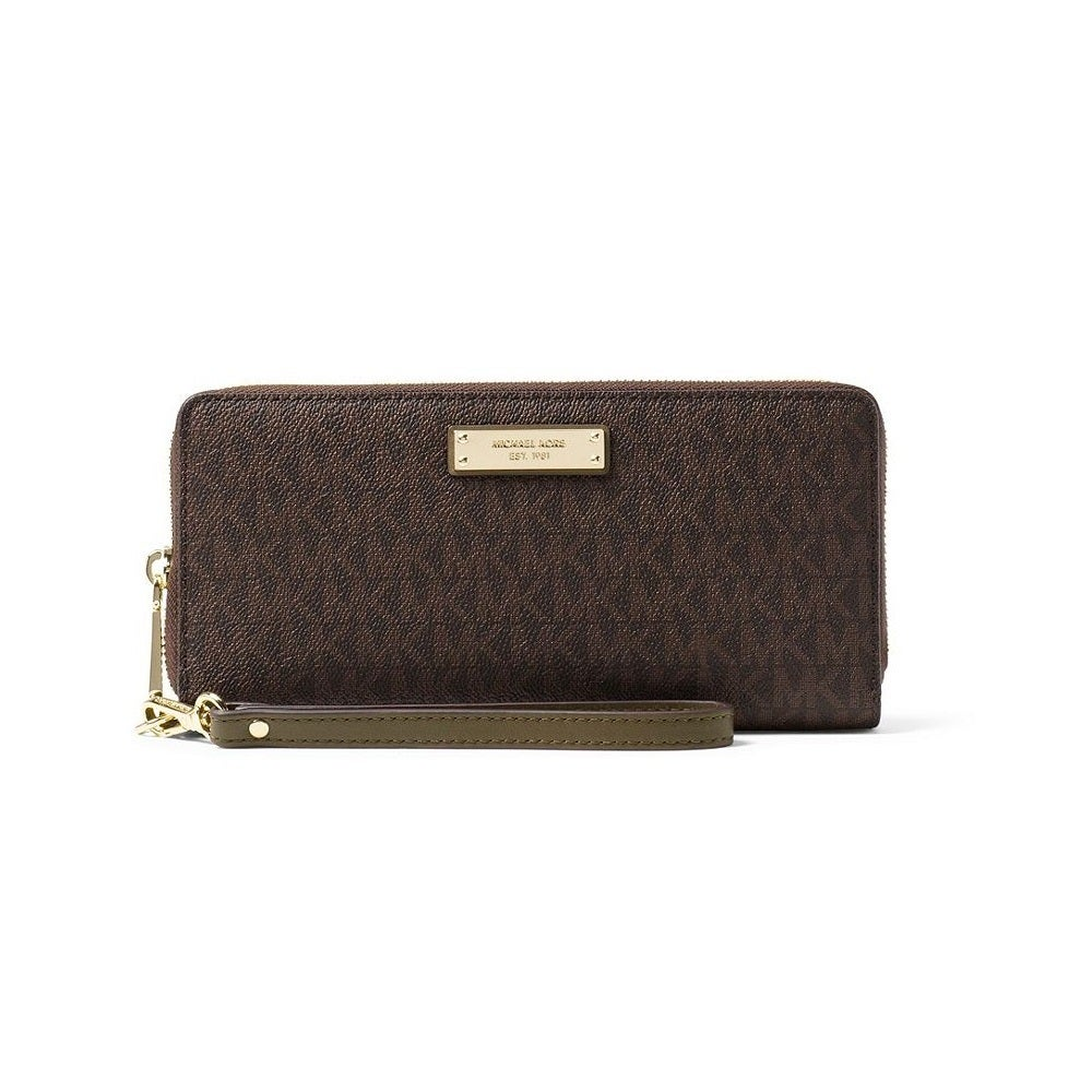 bb77272195d1 Shop Michael Kors Jet Set Travel Brown/Olive Continental Wristlet Wallet -  Free Shipping Today - Overstock - 19205703