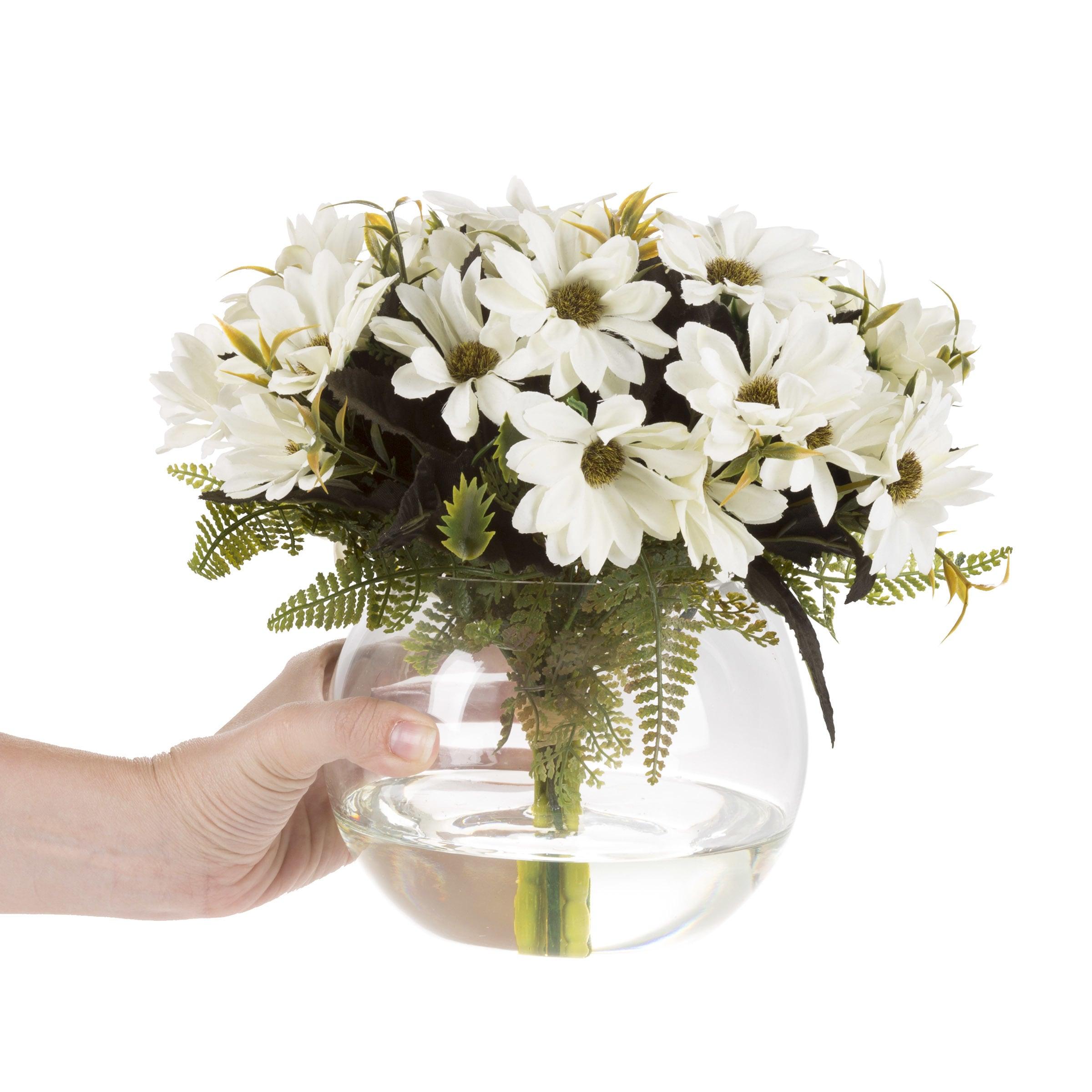 Shop Daisy Artificial Silk Floral Arrangement With Vase And Faux