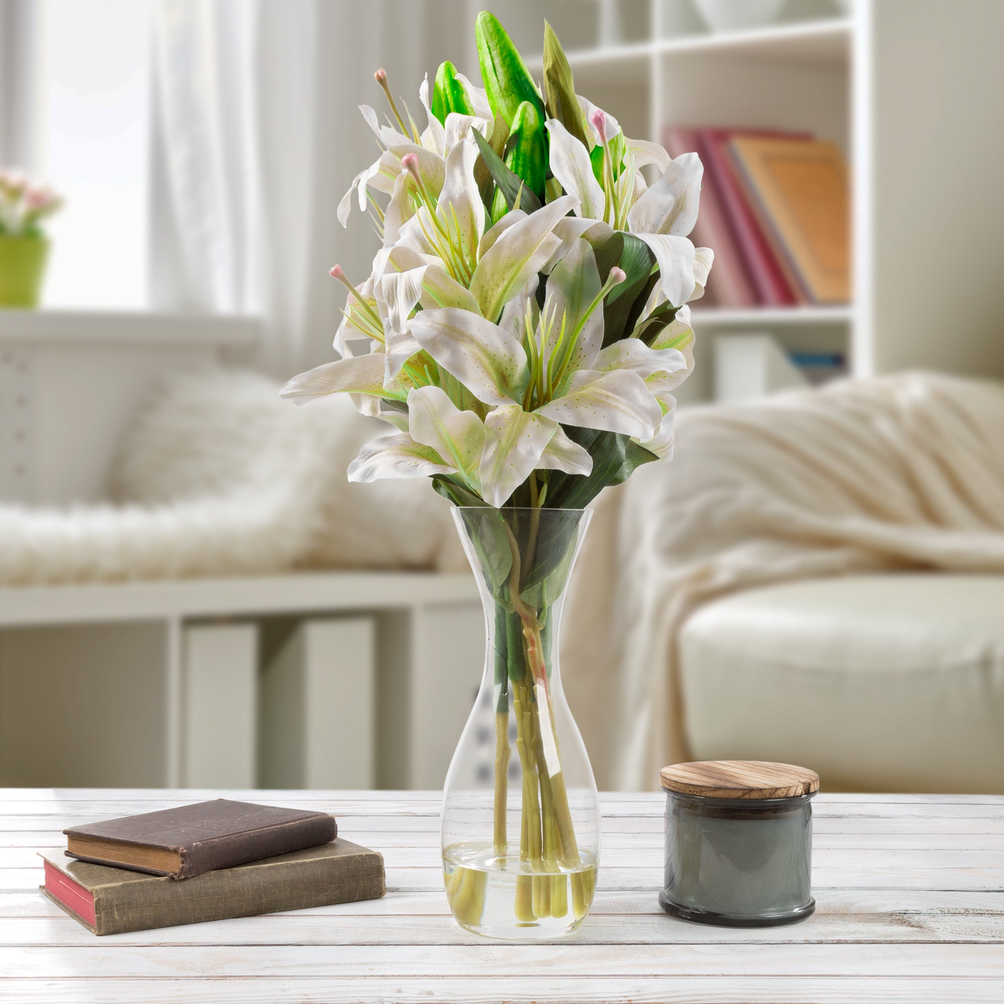 Shop tall lily artificial silk floral arrangement with vase and faux shop tall lily artificial silk floral arrangement with vase and faux water pure garden white on sale free shipping today overstock 19205870 izmirmasajfo