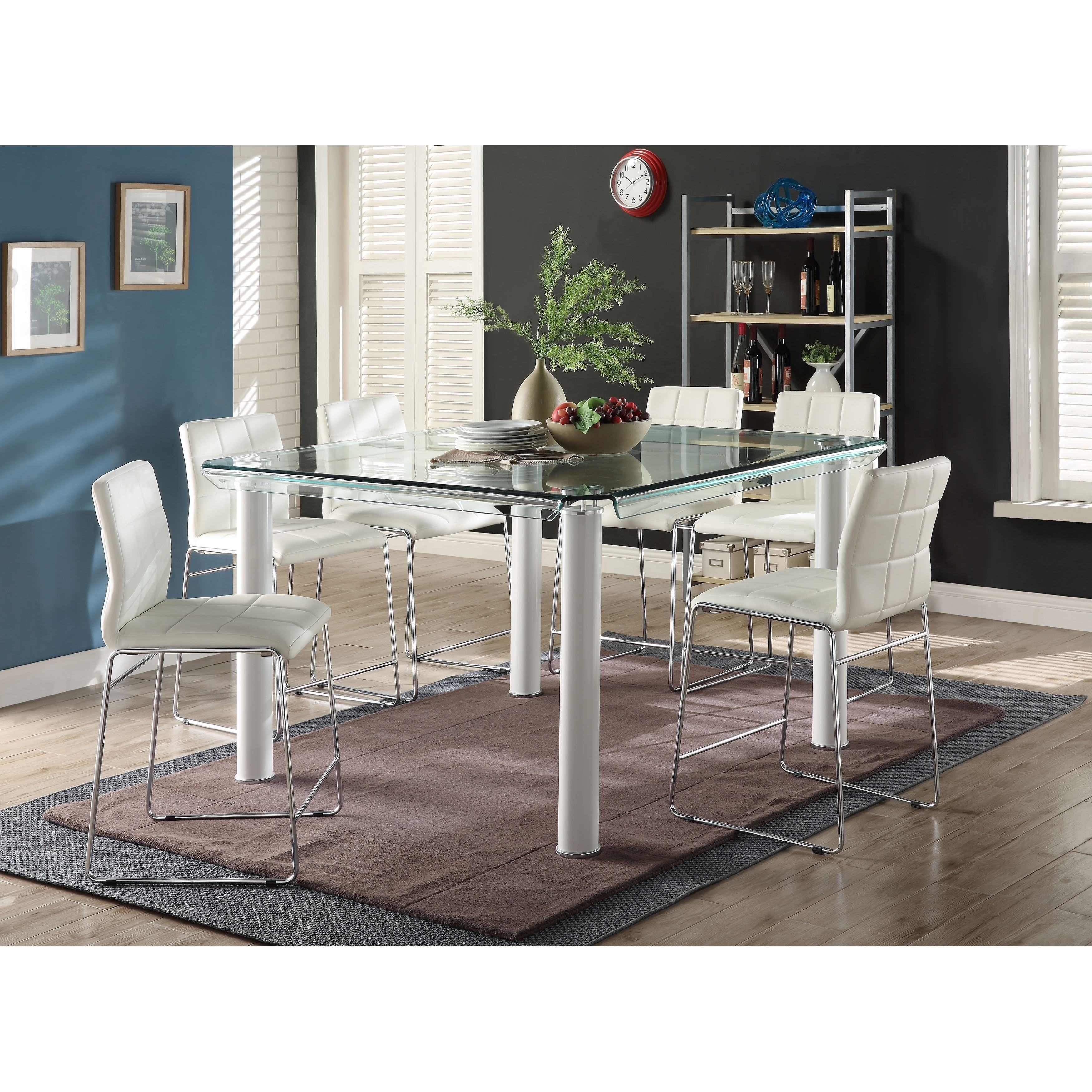 Shop ACME Gordias Glass Counter Height Table In White   Free Shipping Today    Overstock.com   19206313
