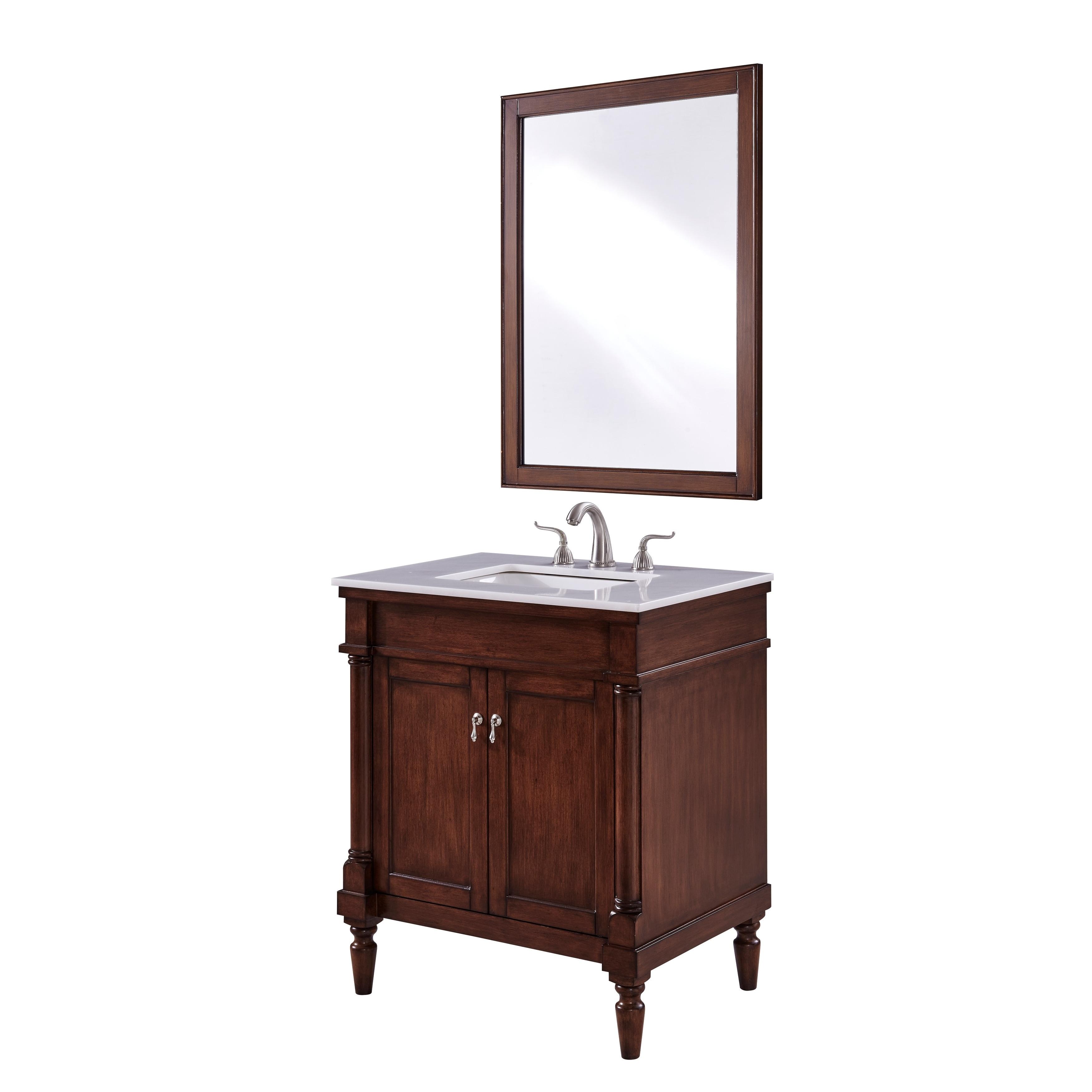Bathroom Walnut Finish Single Vanity - Free Shipping Today ...