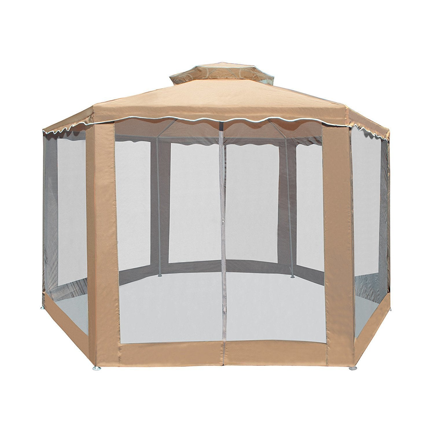 Shop aleko double roof hexagon patio gazebo with netting 6 5x6 5x6 5 ft on sale free shipping today overstock com 19208643
