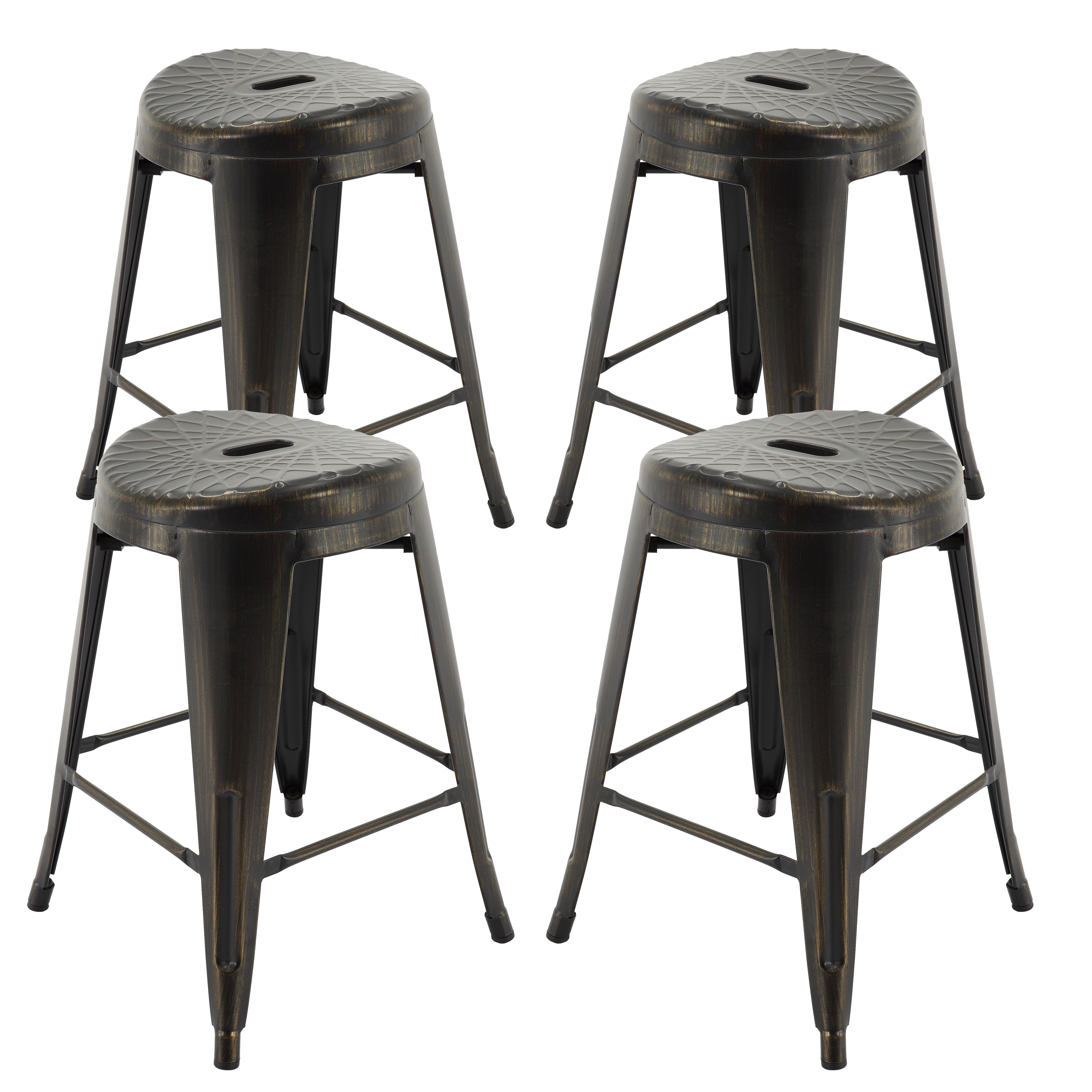 Shop vogue furniture direct metals natural patina metal 24 inch assembled backless bar stools set of 4 24h on sale free shipping today