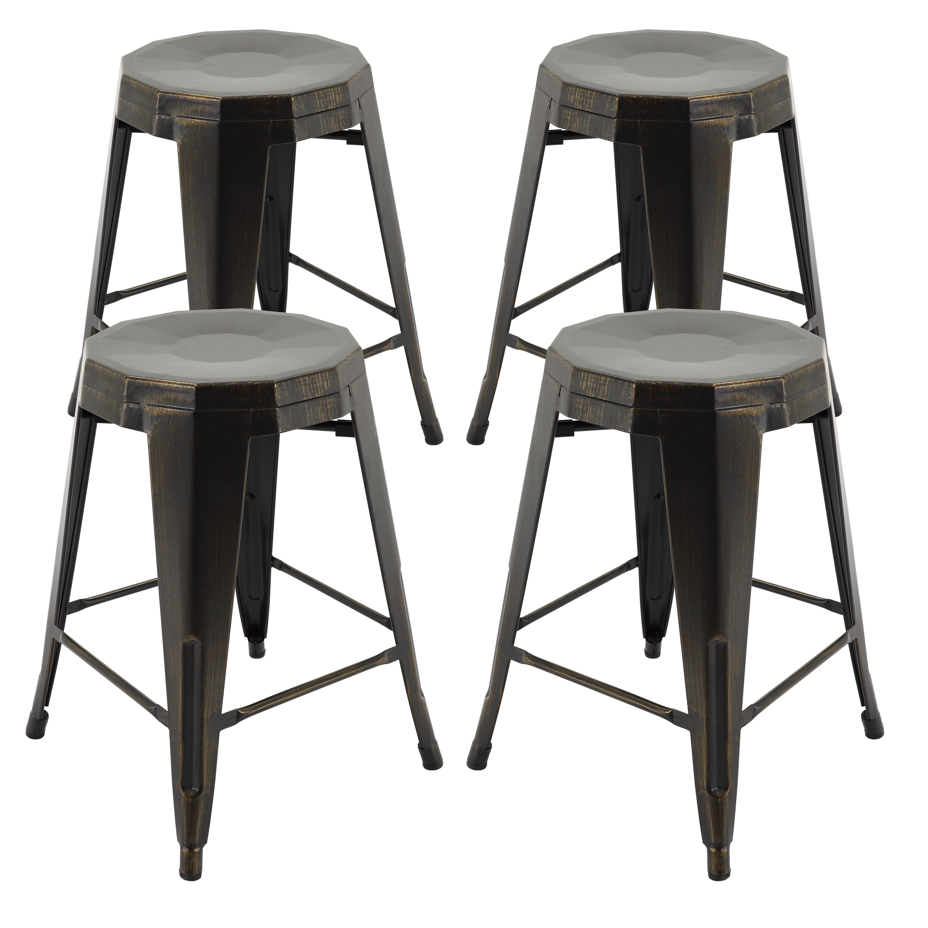 Vogue furniture direct metals 24 inch backless fully assembled barstools set of 4