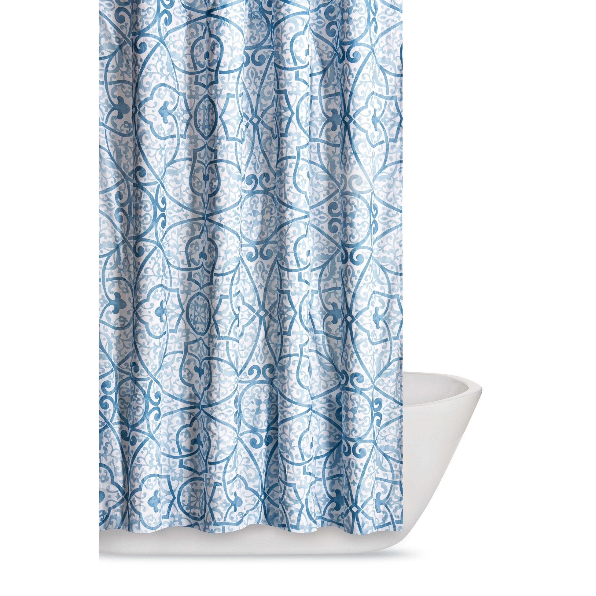 Shop Truly Soft Marcello Scroll Printed Shower Curtain - Free ...