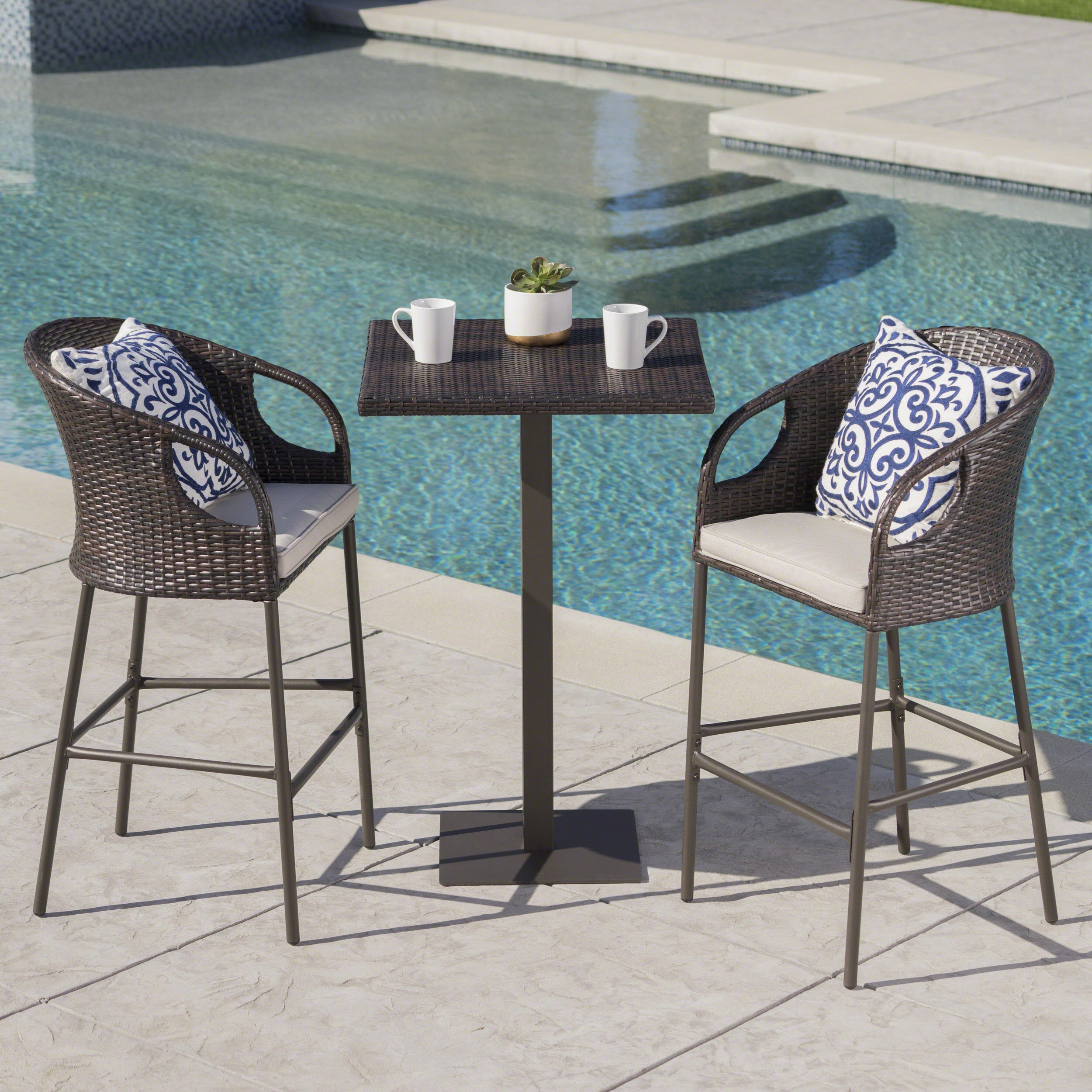 Dominica Outdoor 3-piece Wicker 40-inch Square Bar Set with Cushions ...