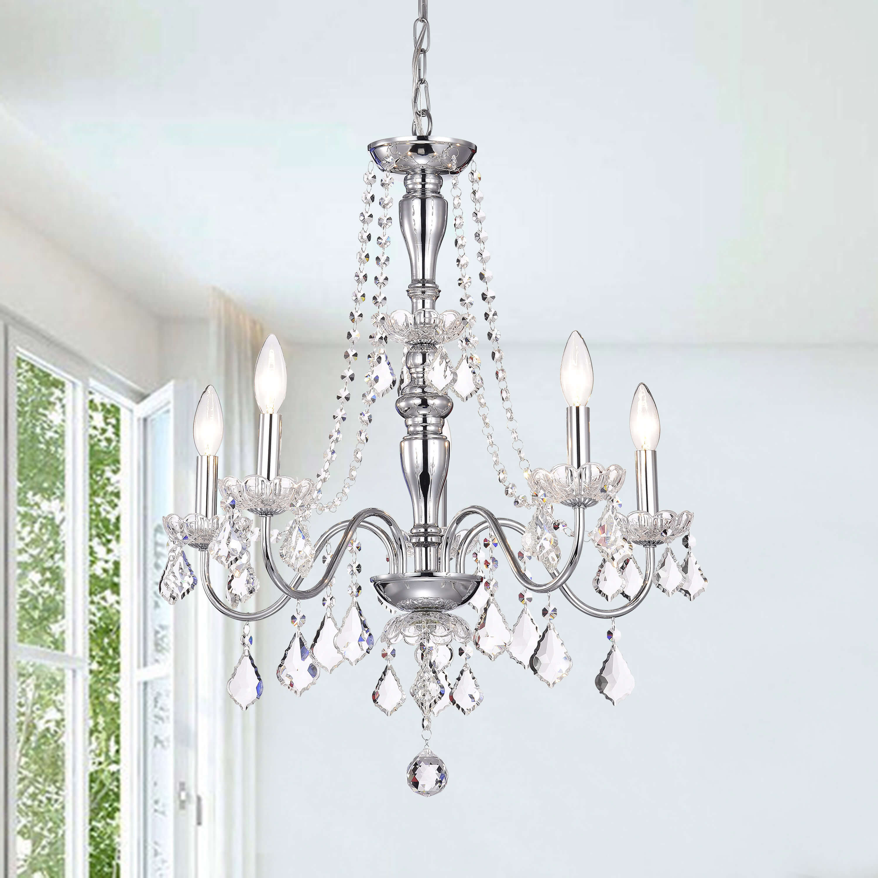Shop Chrome 5-light Crystal Chandelier - Free Shipping Today ...