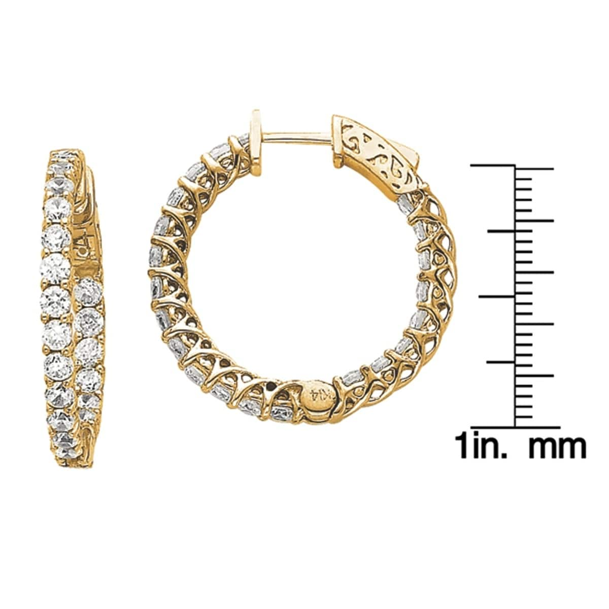 237b27b22 Shop Versil 14 Karat Yellow Gold True Light Moissanite Round Hoop With  Safety Clasp Mountings Earrings - On Sale - Free Shipping Today - Overstock  - ...