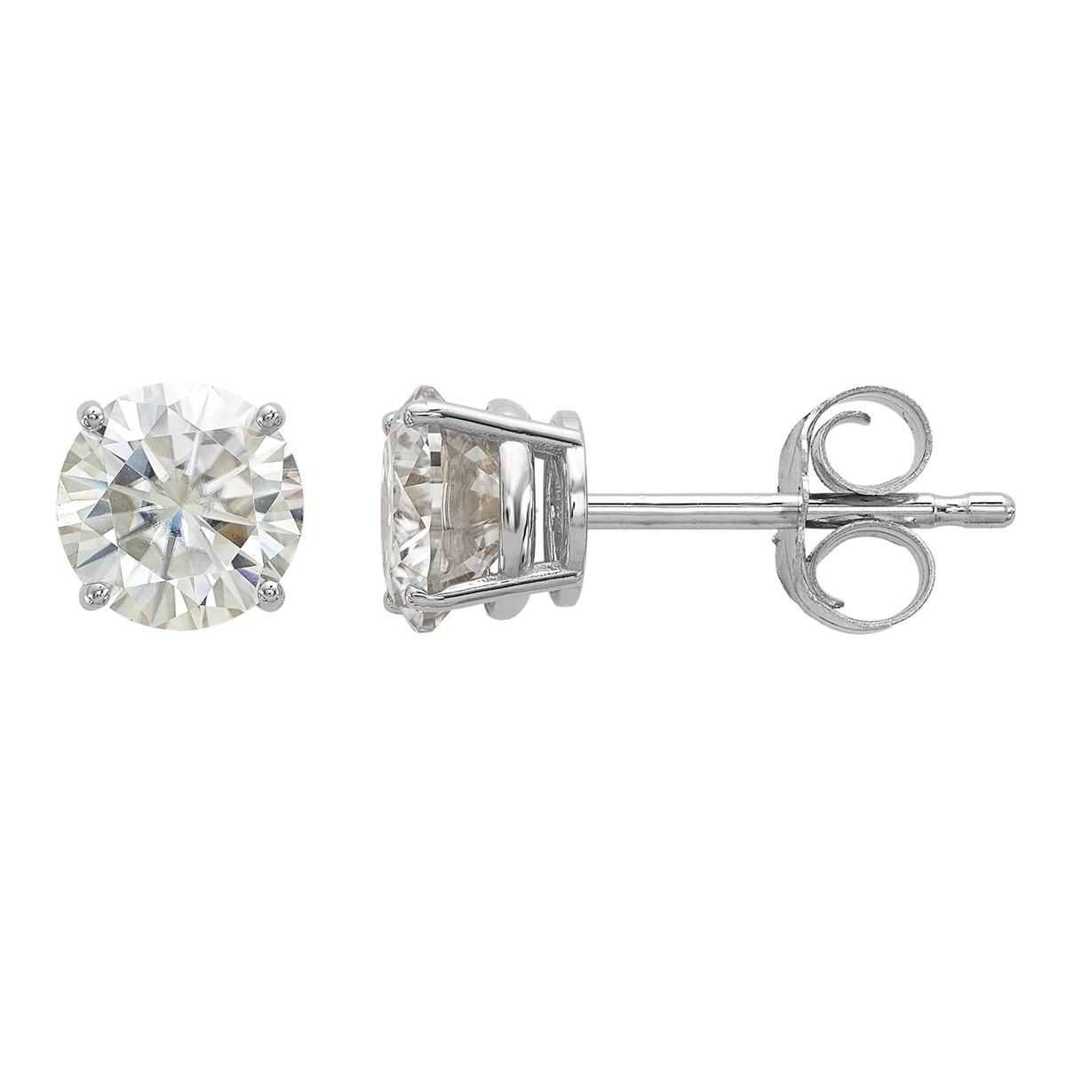 ca82c125b Shop Versil 14 Karat White Gold 5.0 mm Round True Light Moissanite 4-Prong  Basket Post Earrings - On Sale - Free Shipping Today - Overstock - 19212921