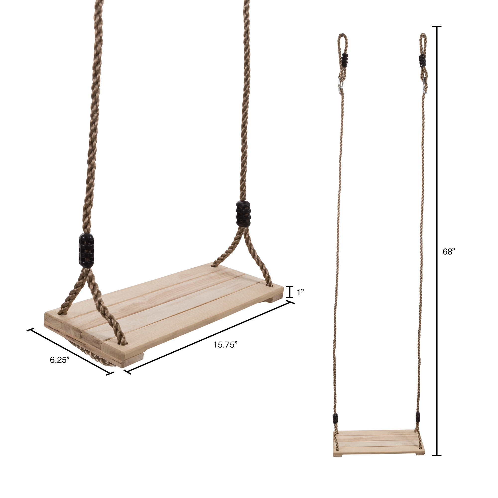 Wooden Swing, Outdoor Flat Bench Seat with Adjustable Nylon Hanging Rope  for Kids Playset Frame or Tree Hey! Play!