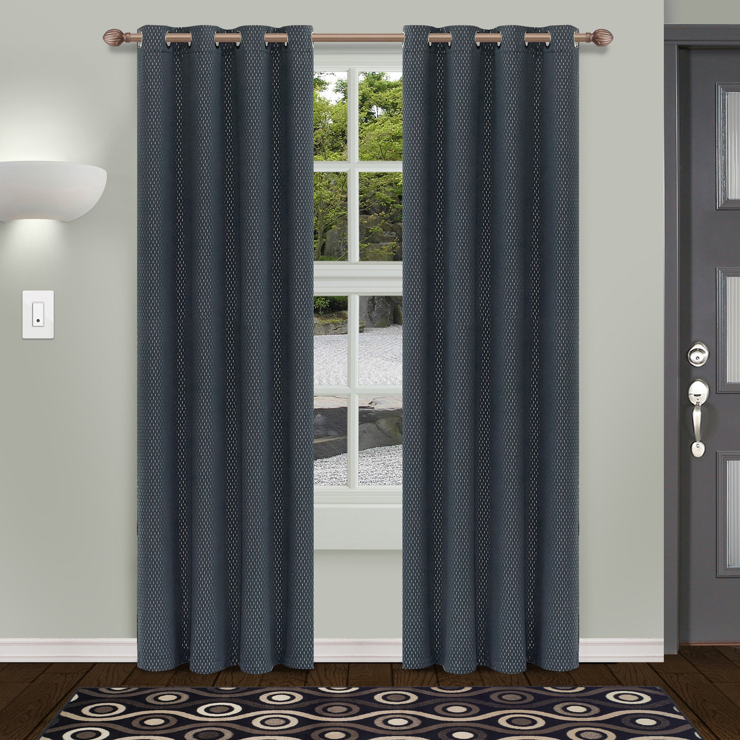 grommet curtain chocolate elements grey wavy with in kitchen home dp grommets embroidered panel wide amazon extra leaves window com sheer drapes x