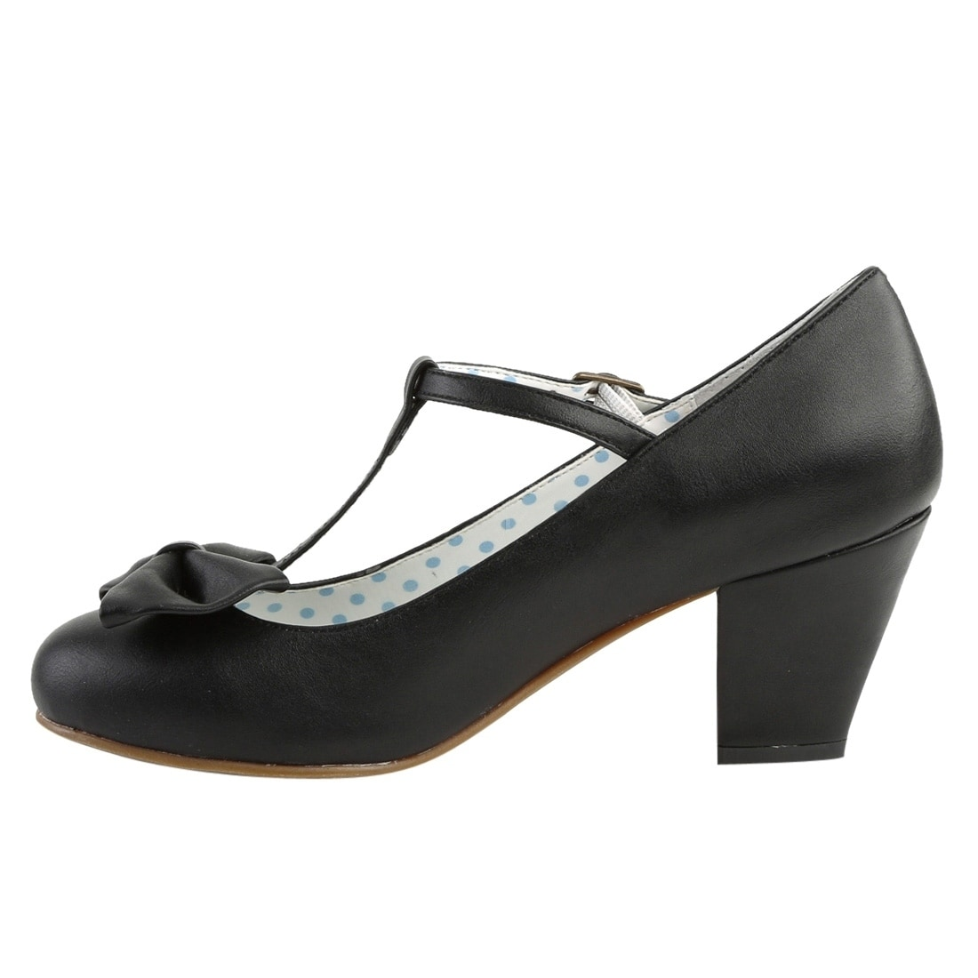 84b33dcfc5d Shop Pin Up Couture WIGGLE-50 Women s Bow Buckle T-Strap Cuben Heel Pumps -  Free Shipping Today - Overstock - 19219138
