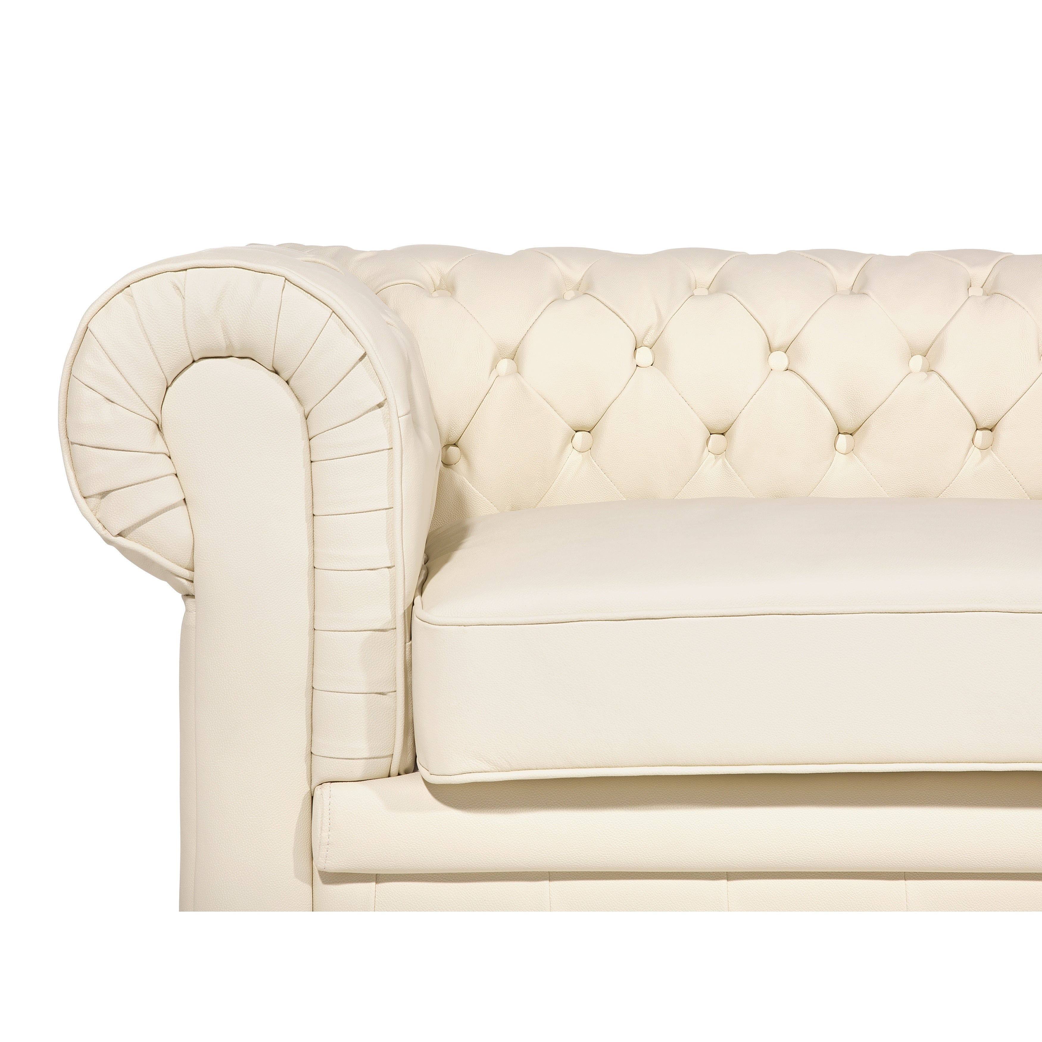 Shop Tufted Leather Sofa - Cream CHESTERFIELD - Free Shipping Today ...