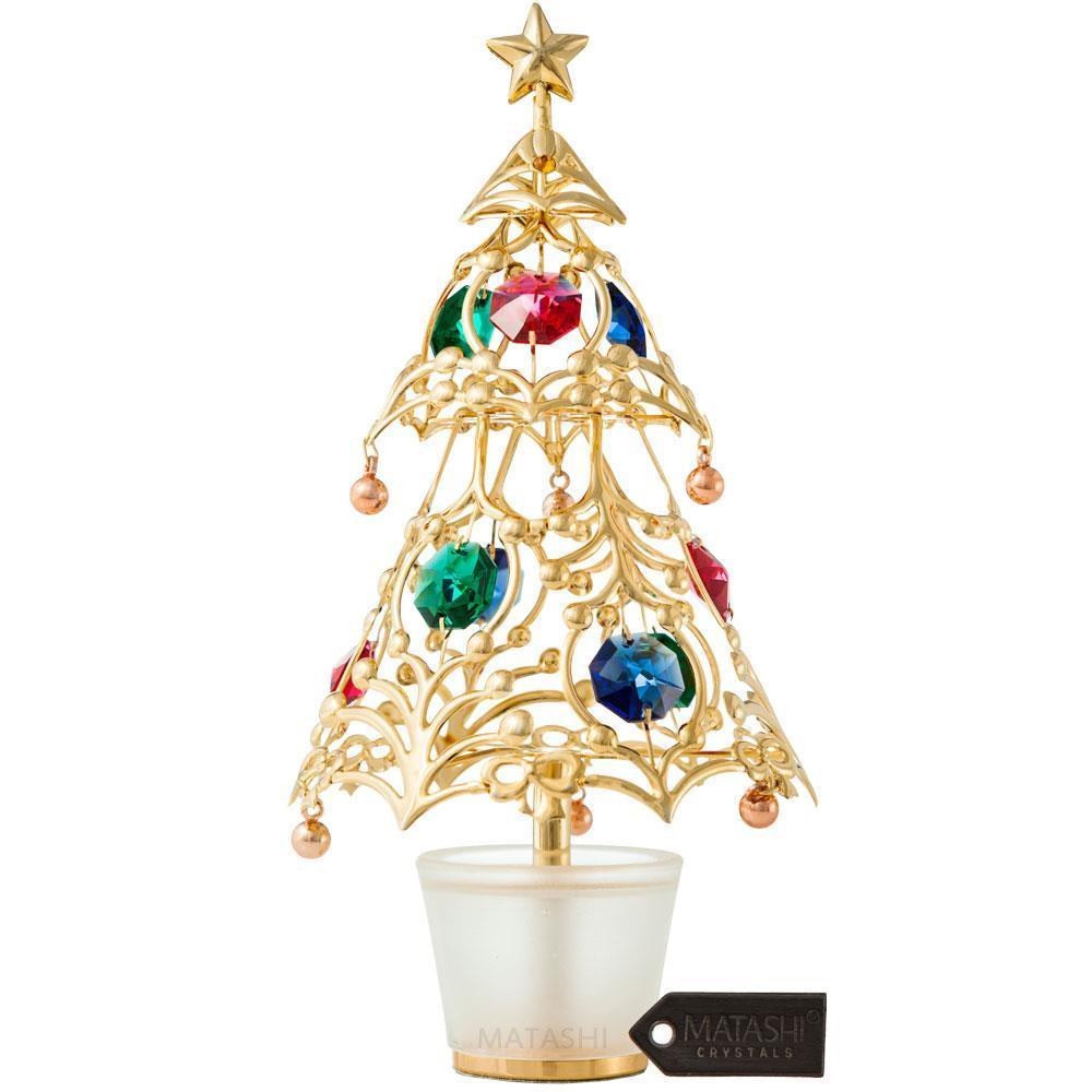 shop matashi gold plated christmas tree table top ornament with multi colored crystals silver or gold free shipping on orders over 45 overstockcom - Silver Plated Christmas Tree Decorations