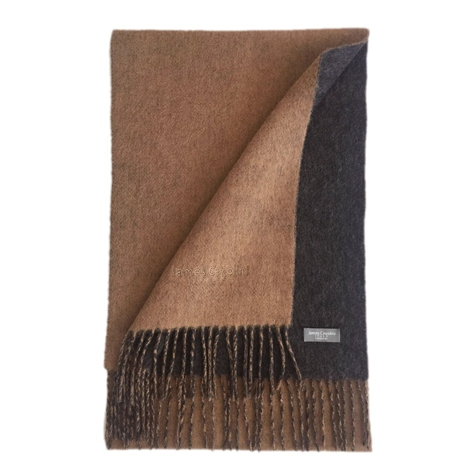 70bb93817 James Cavolini Italy Men's Cashmere Wool Double-Sided Camel / Charcoal Scarf