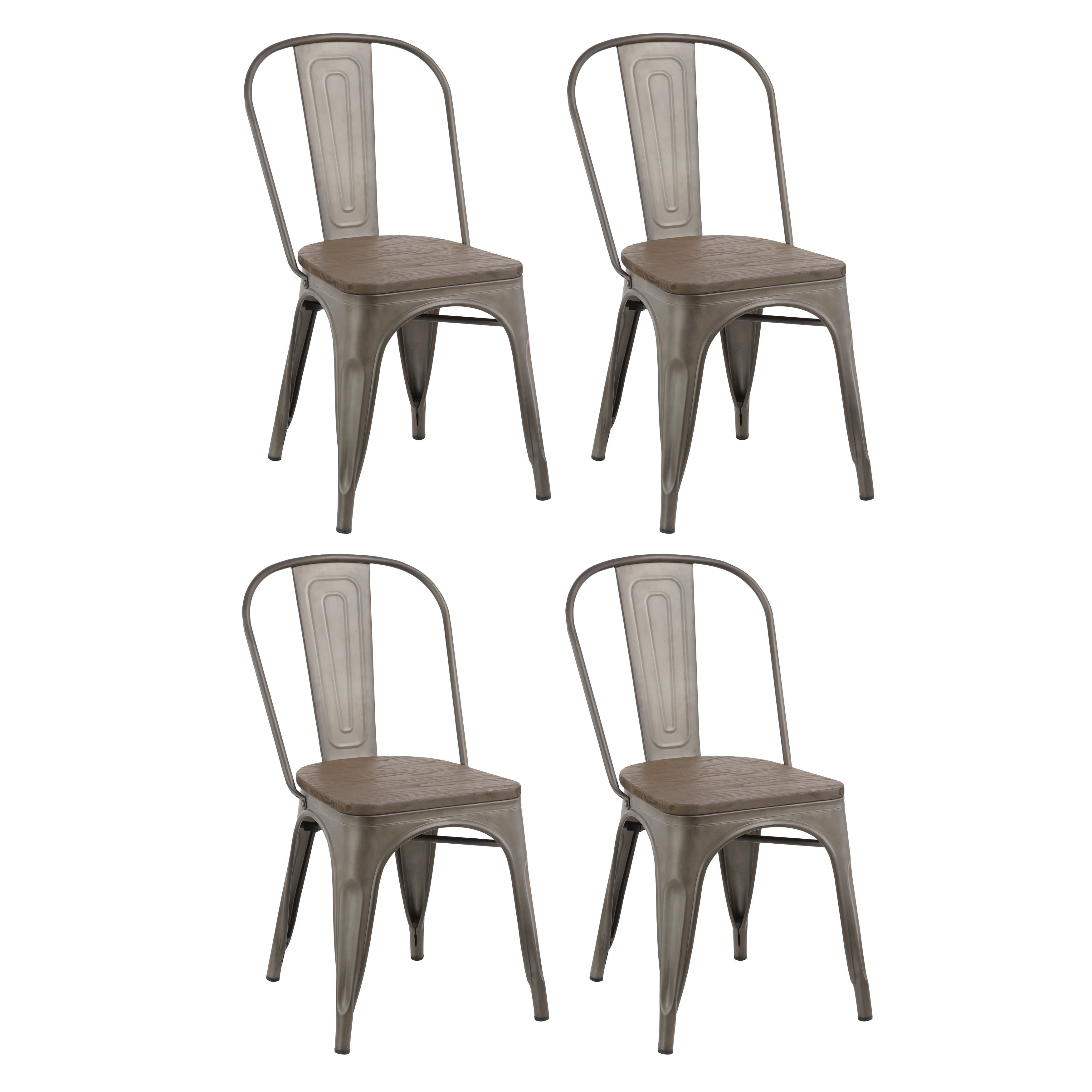 Shop Industrial Stackable Steel Antique Rustic Cafe Dining Chair Set