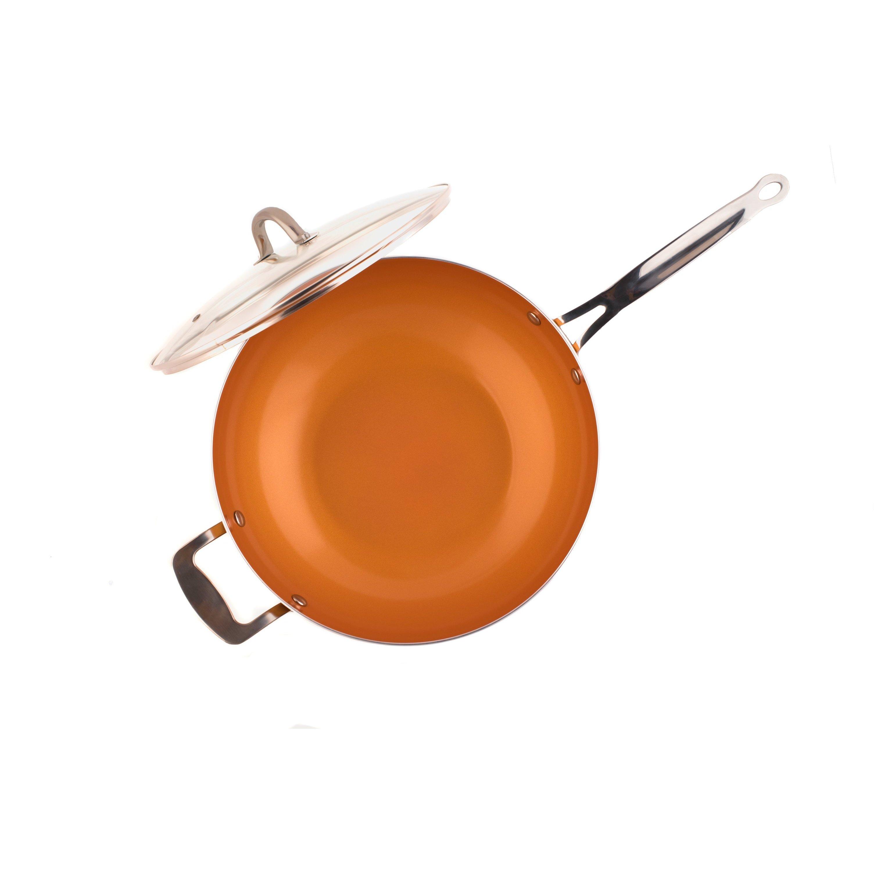 Original Copper Pan 12 Non-Stick Wok with Lid 12
