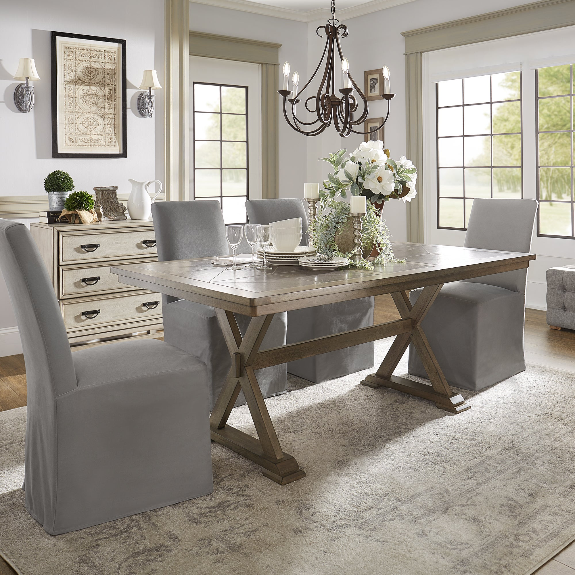 Pennington Grey Wood Rectangular Tile Top Trestle Dining Table by iNSPIRE Q  Artisan - Free Shipping Today - Overstock.com - 25288618