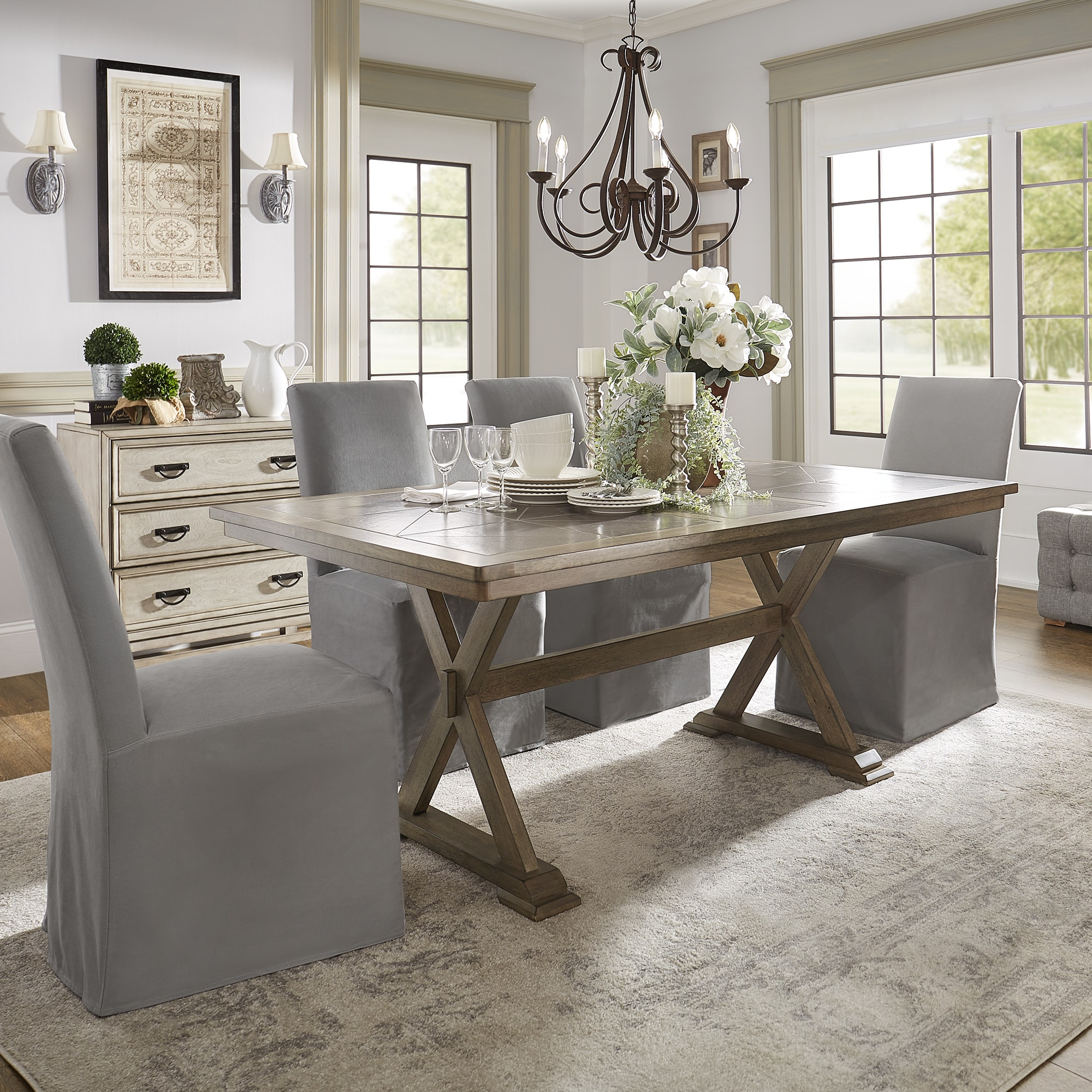Pennington Grey Wood Rectangular Tile Top Trestle Dining Table By INSPIRE Q  Artisan   Free Shipping Today   Overstock.com   25288618