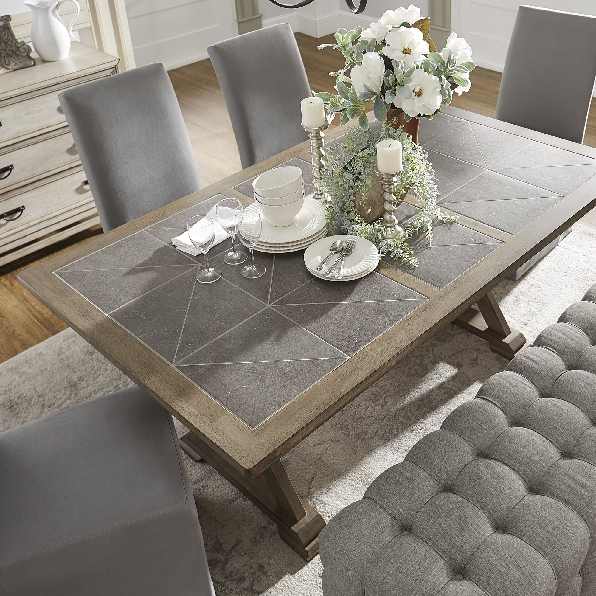 Shop Pennington Grey Wood Rectangular Tile Top Trestle Dining Table By  INSPIRE Q Artisan   Free Shipping Today   Overstock.com   19267392