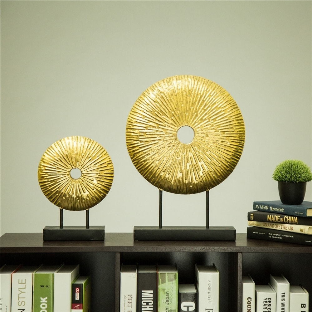 Shop Glitzhome Glam Brass Painted Sunburst Table Decor - Free ...