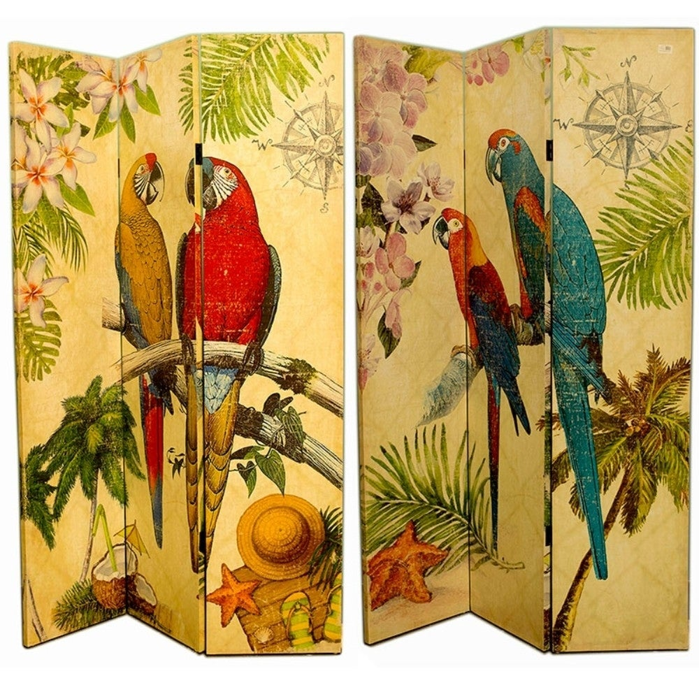 Eye-catching Canvas Room Divider With Parrot Imprint, Multicolor ...