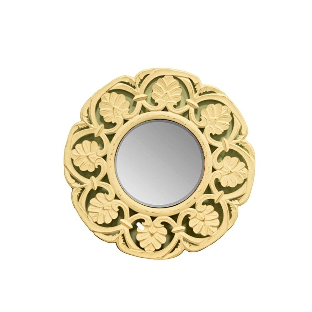 Shop Enchanting Round Mirror with wooden Carving Frame, Gold - Free ...
