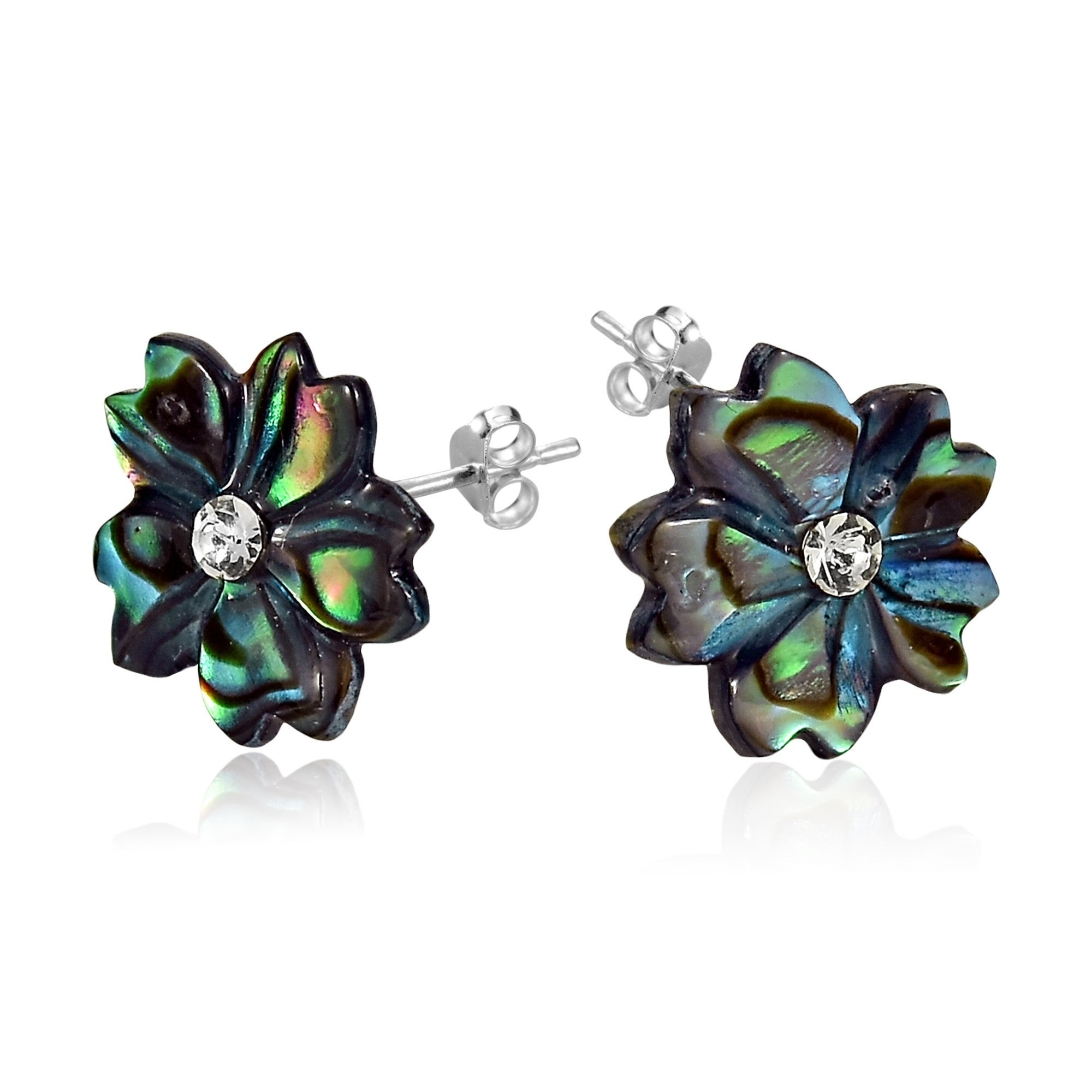 sterling in netaya silver products abalone genuine earrings stud